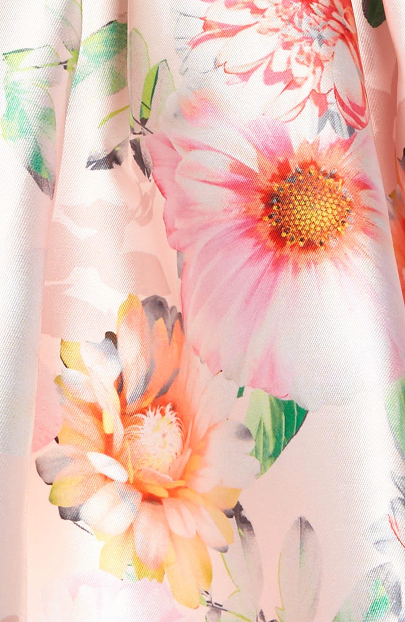 IRIS & IVY, Floral Print Satin Dress, Alternate thumbnail 3, color, PINK