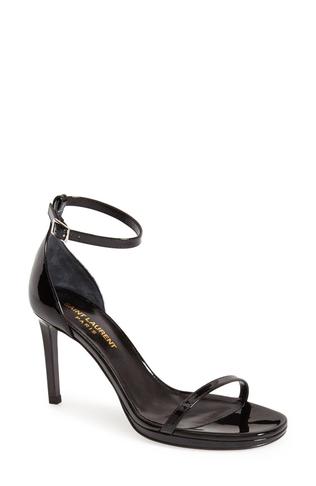 SAINT LAURENT, 'Jane' Ankle Strap Sandal, Main thumbnail 1, color, 001