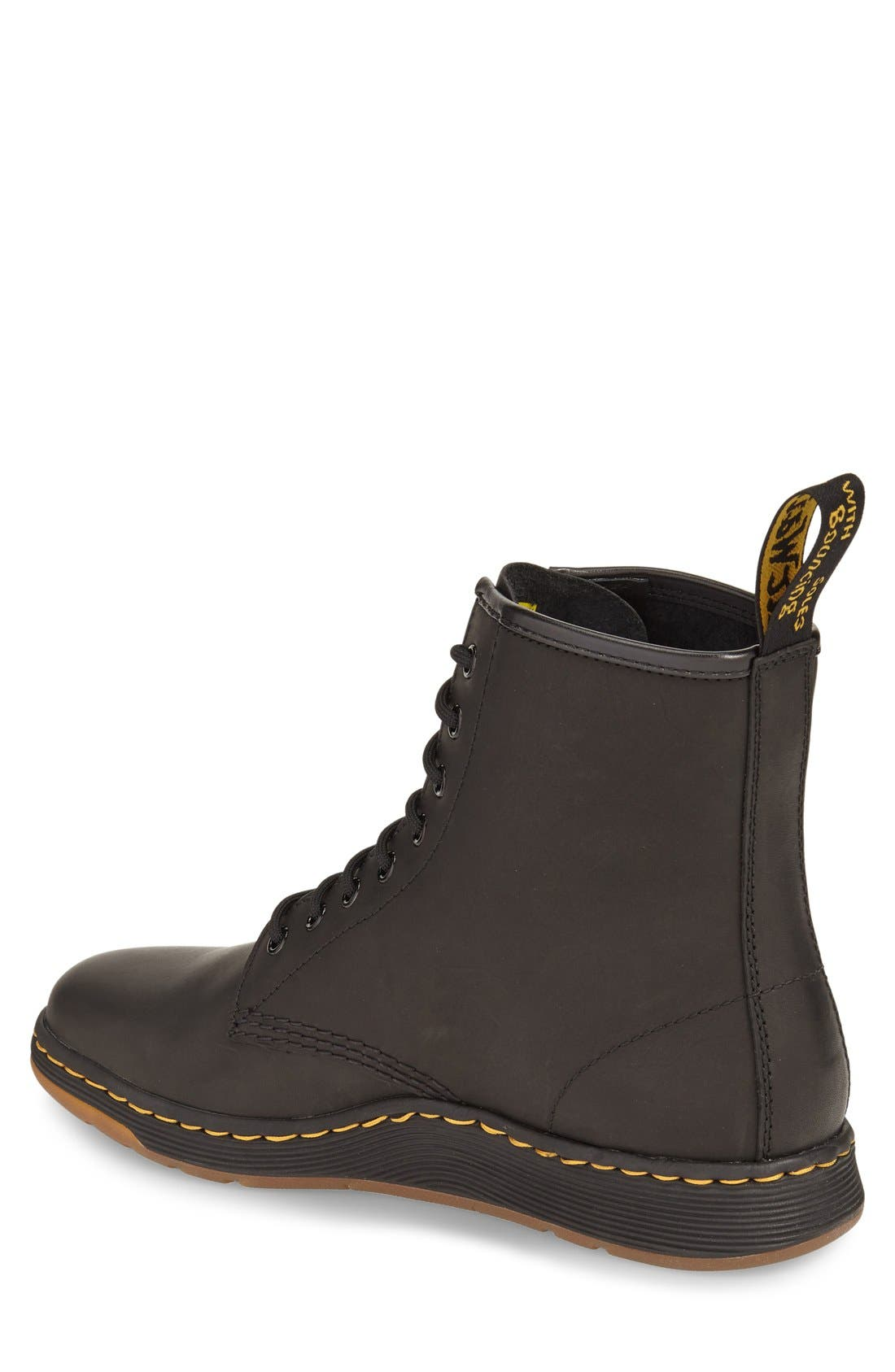 DR. MARTENS, 'Newton' Boot, Alternate thumbnail 3, color, BLACK LEATHER