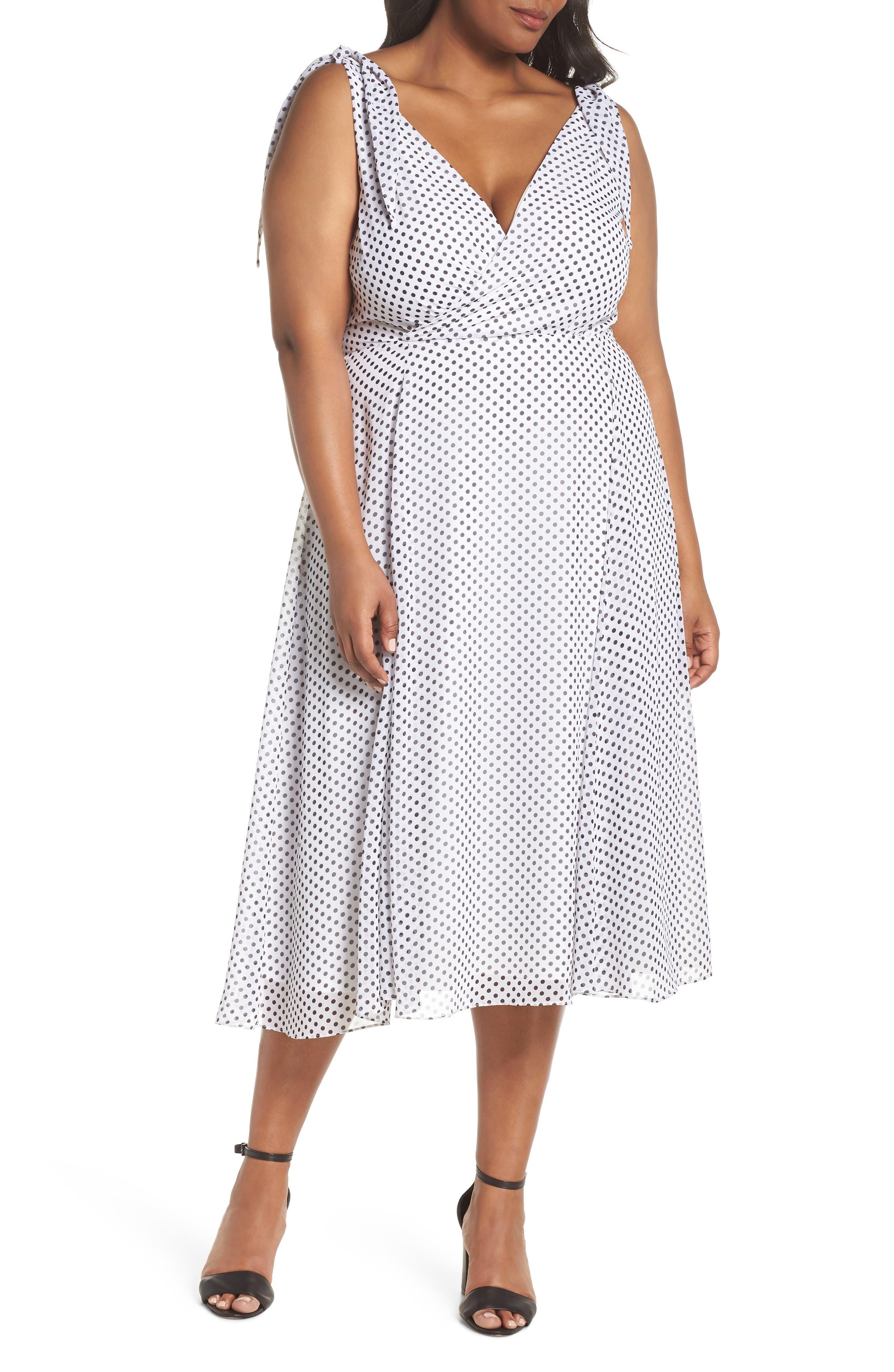 CITY CHIC, Alika Dot Fit & Flare Dress, Main thumbnail 1, color, IVORY