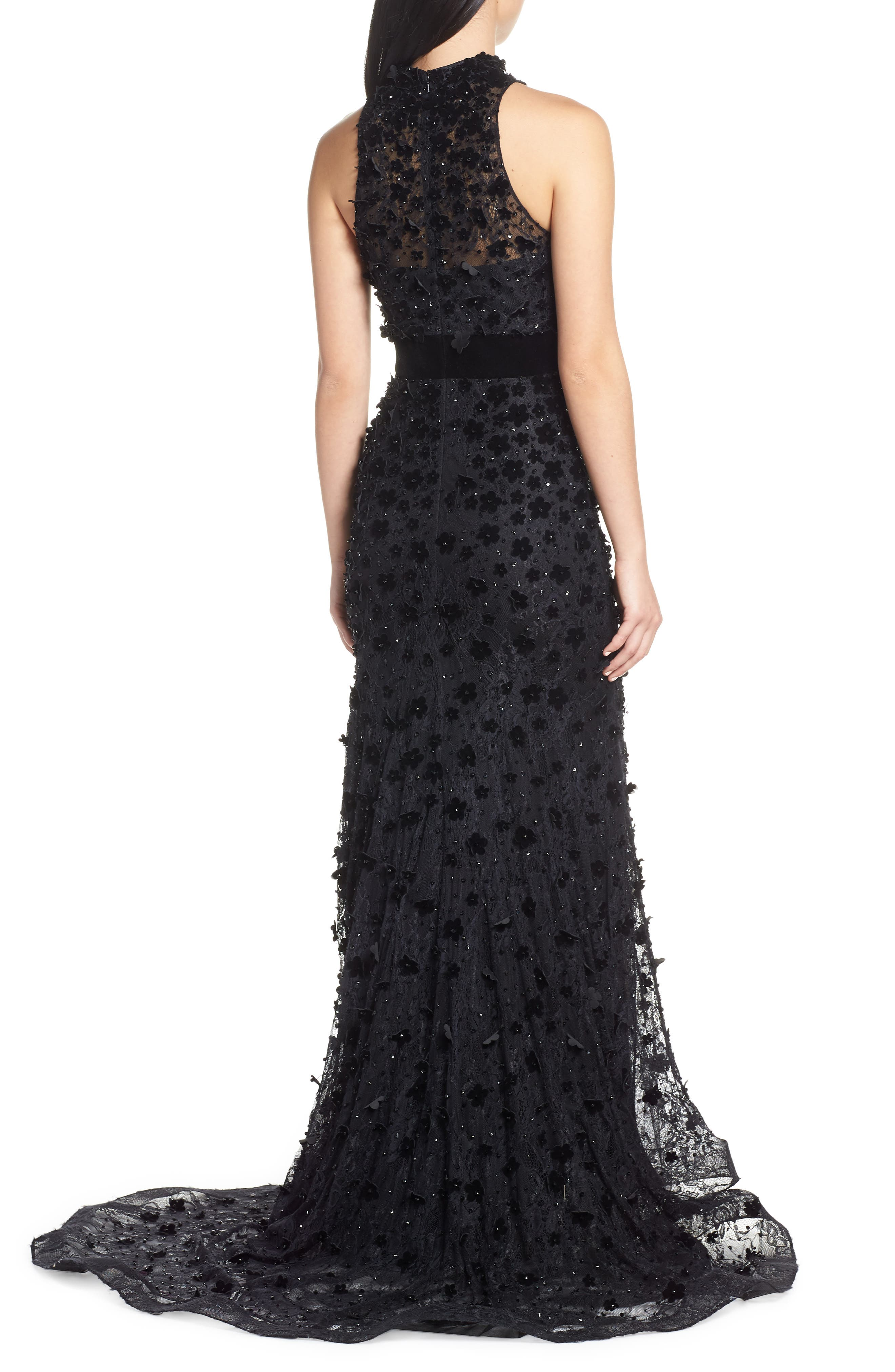 MAC DUGGAL, 3D Lace Evening Dress with Train, Alternate thumbnail 2, color, JET BLACK
