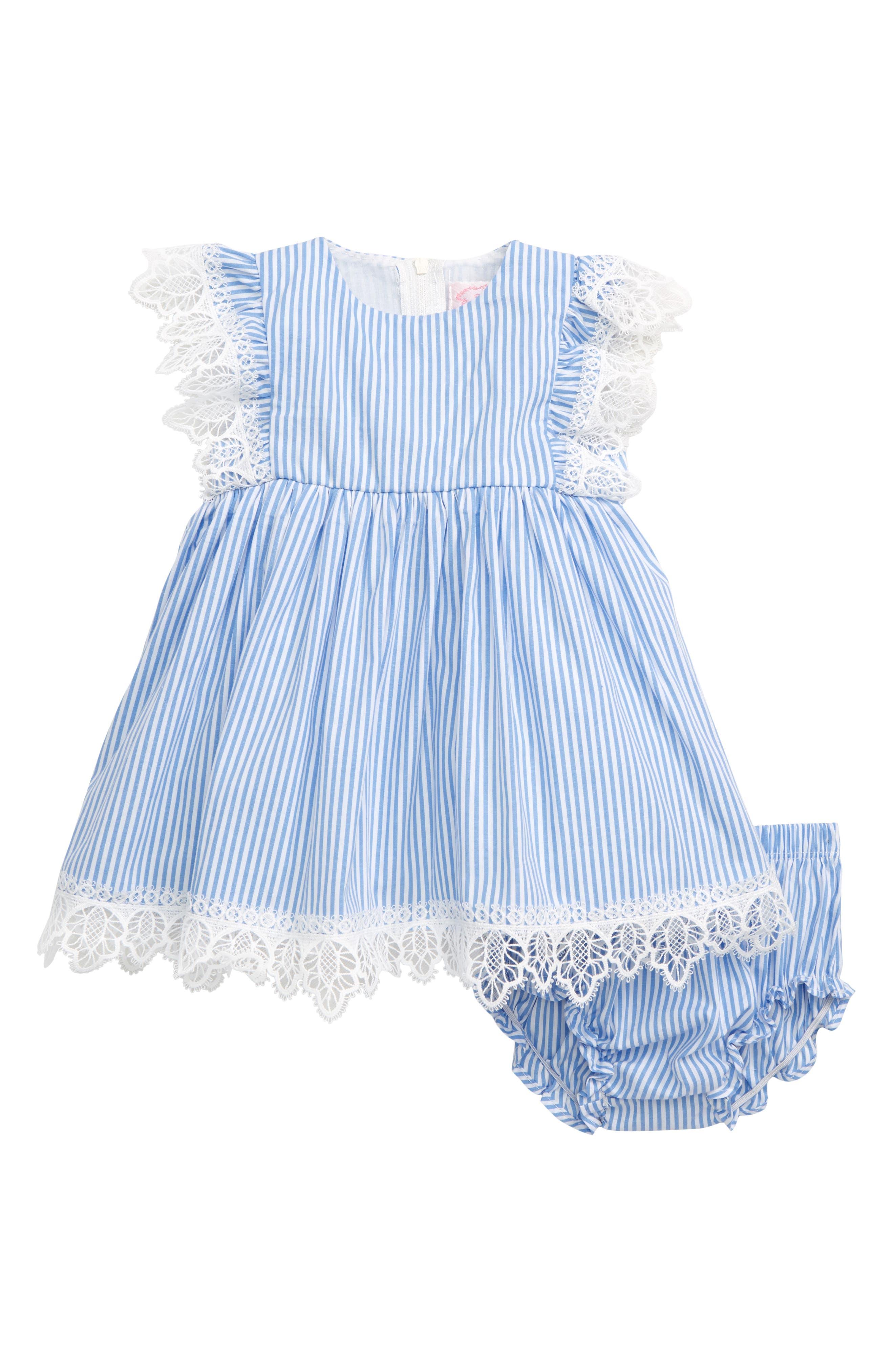 POPATU, Lace & Stripe Pinafore Dress, Main thumbnail 1, color, BLUE