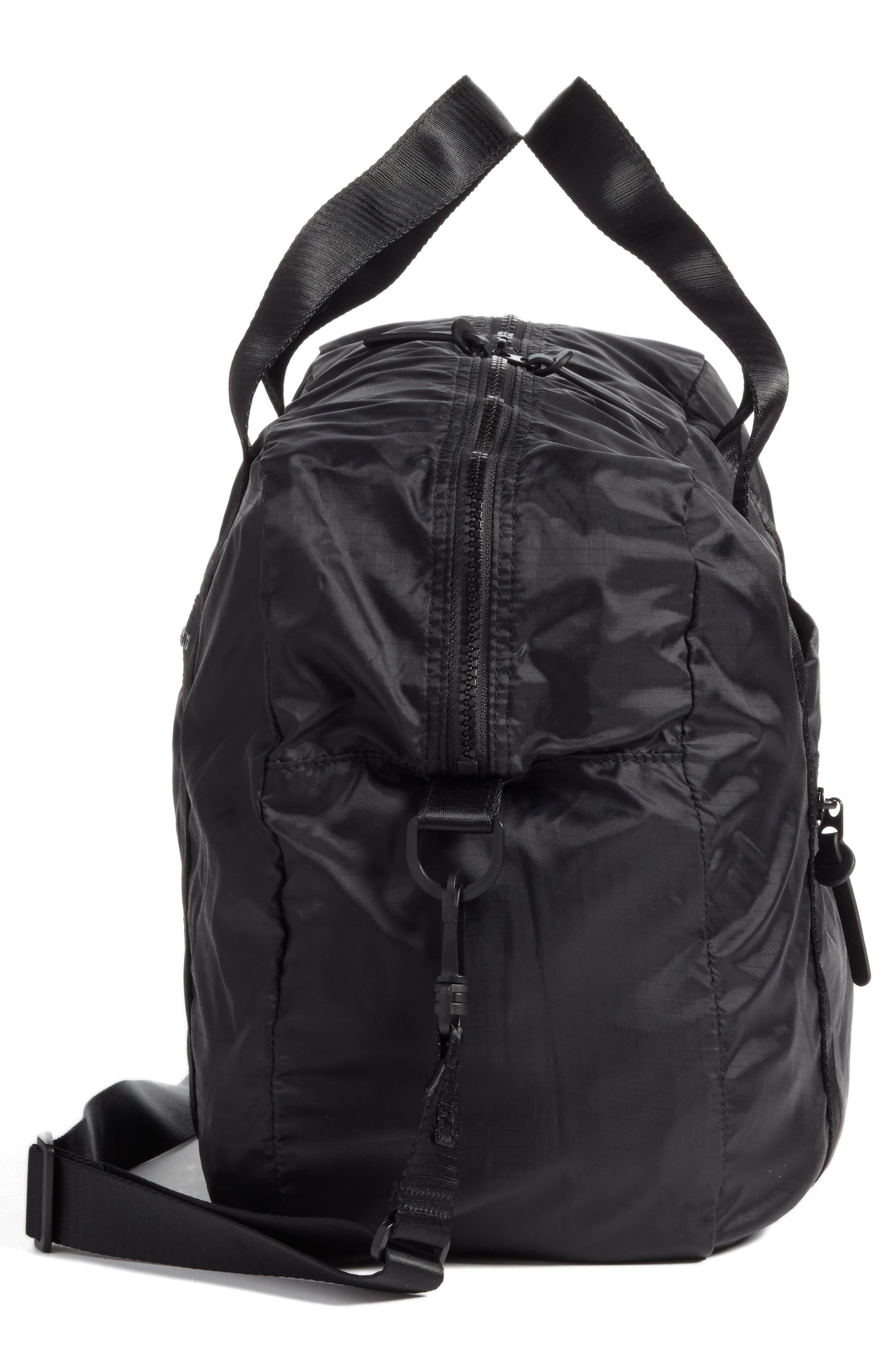 NORDSTROM, Packable Nylon Duffel Bag, Alternate thumbnail 6, color, BLACK