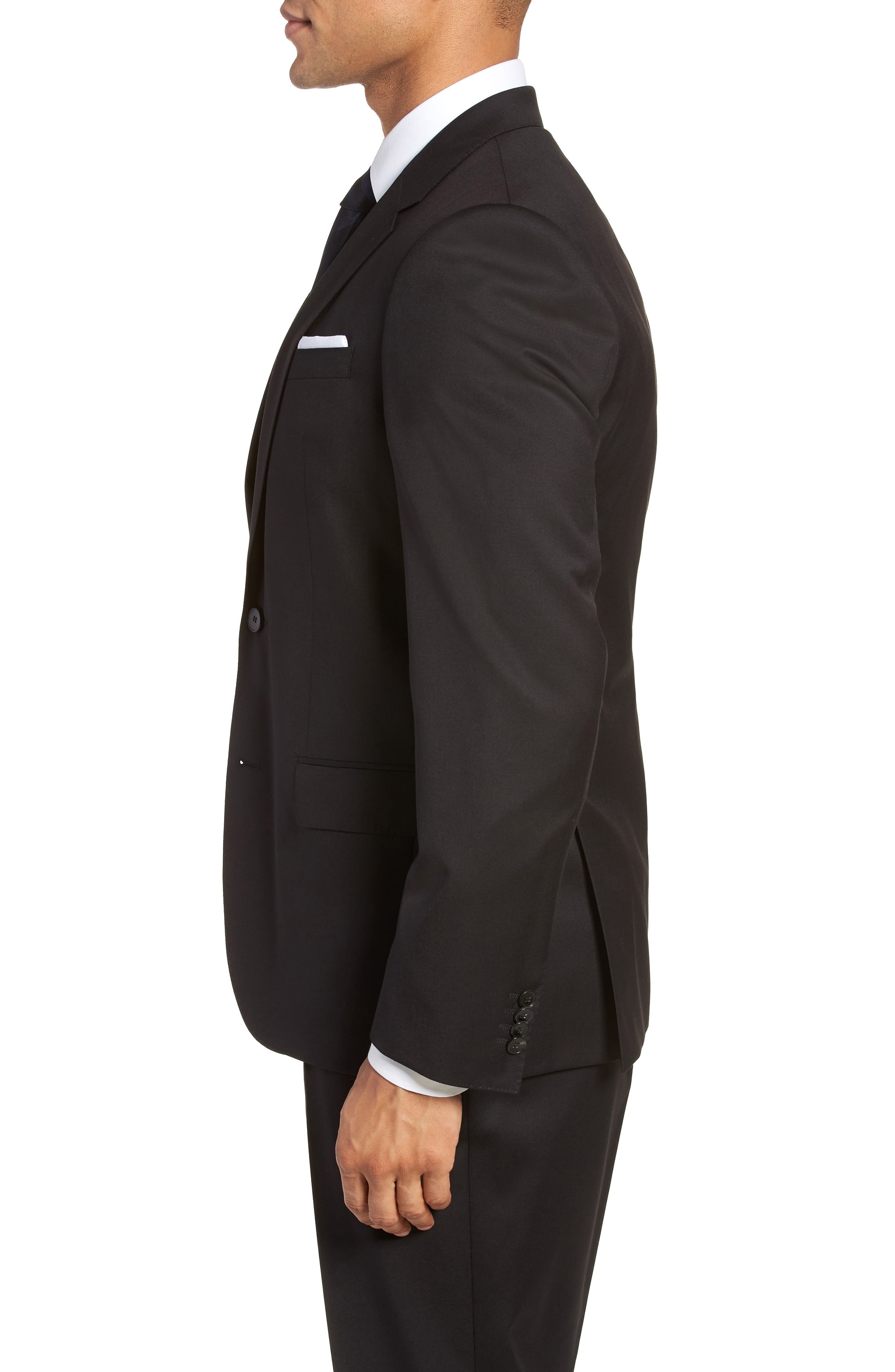 BOSS, Hayes CYL Slim Fit Solid Wool Sport Coat, Alternate thumbnail 3, color, BLACK