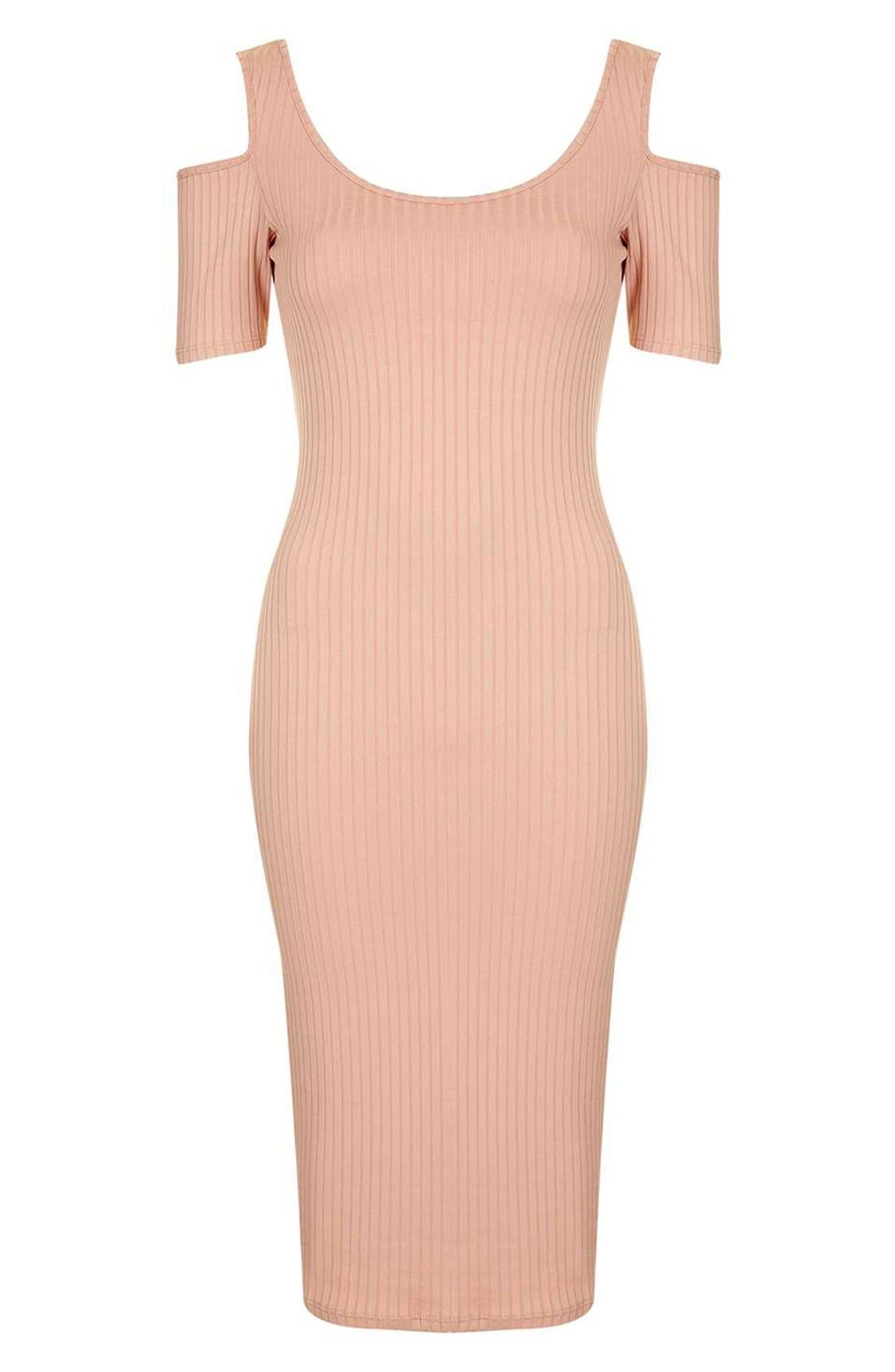 TOPSHOP, Cold Shoulder Ribbed Midi Dress, Alternate thumbnail 5, color, 250