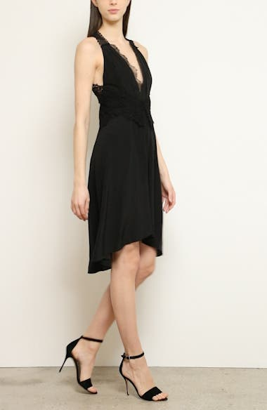 Mixed Lace Trim High/Low Silk Dress, video thumbnail