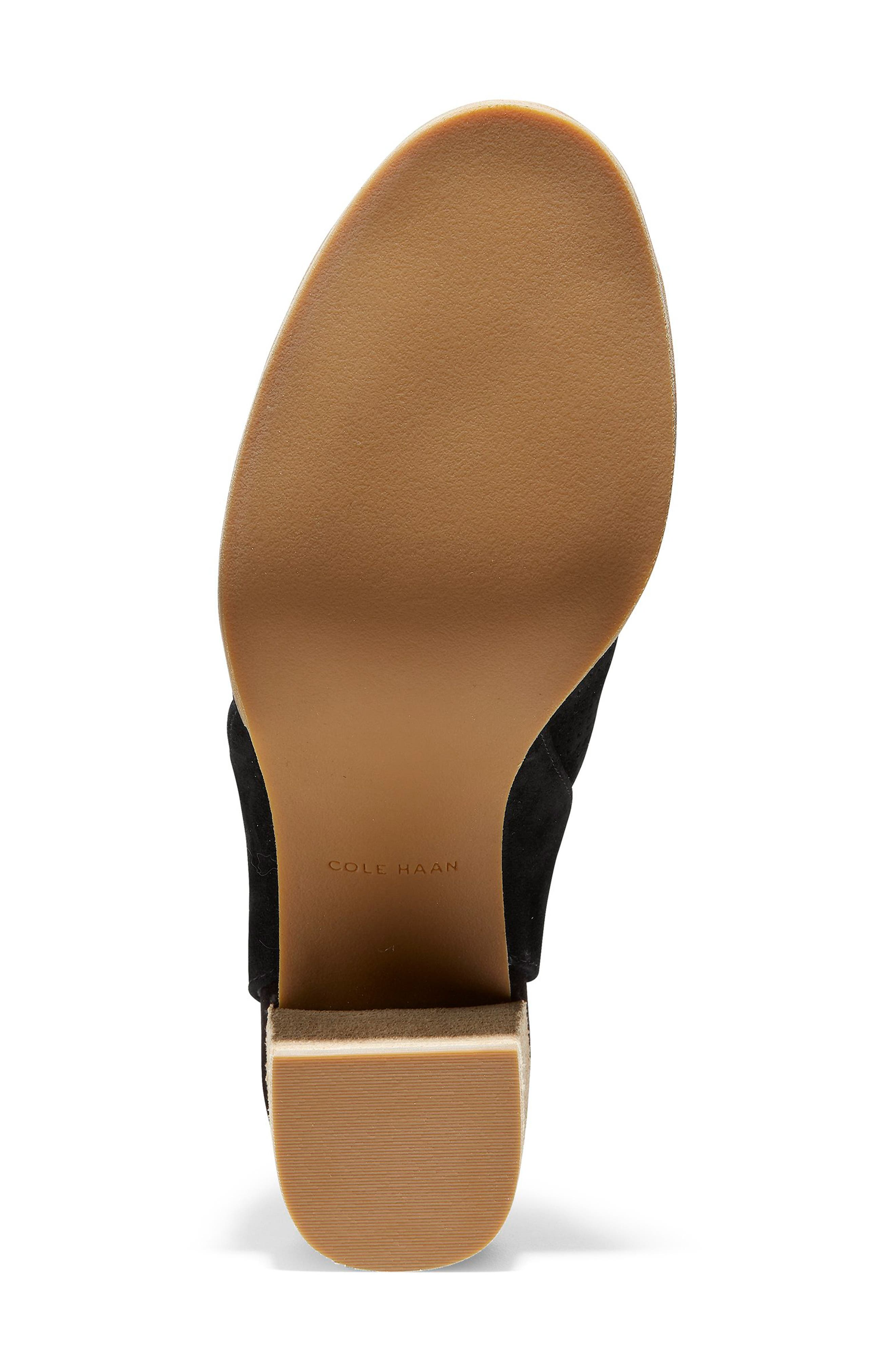 COLE HAAN, Callista Perforated Slingback Sandal, Alternate thumbnail 6, color, BLACK PERF SUEDE