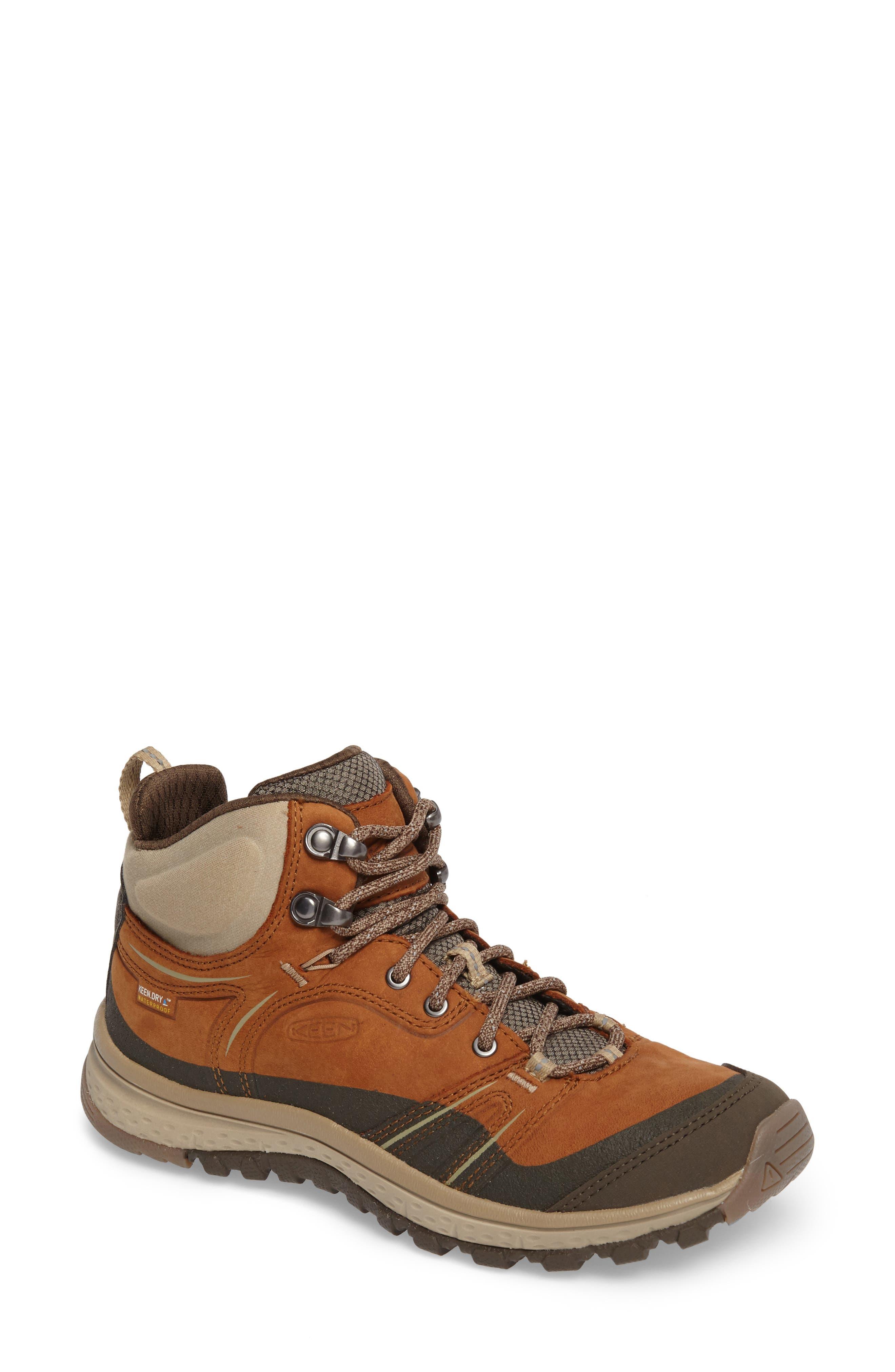 KEEN, Terradora Leather Waterproof Hiking Boot, Main thumbnail 1, color, TIMBER/ ORANGE NUBUCK