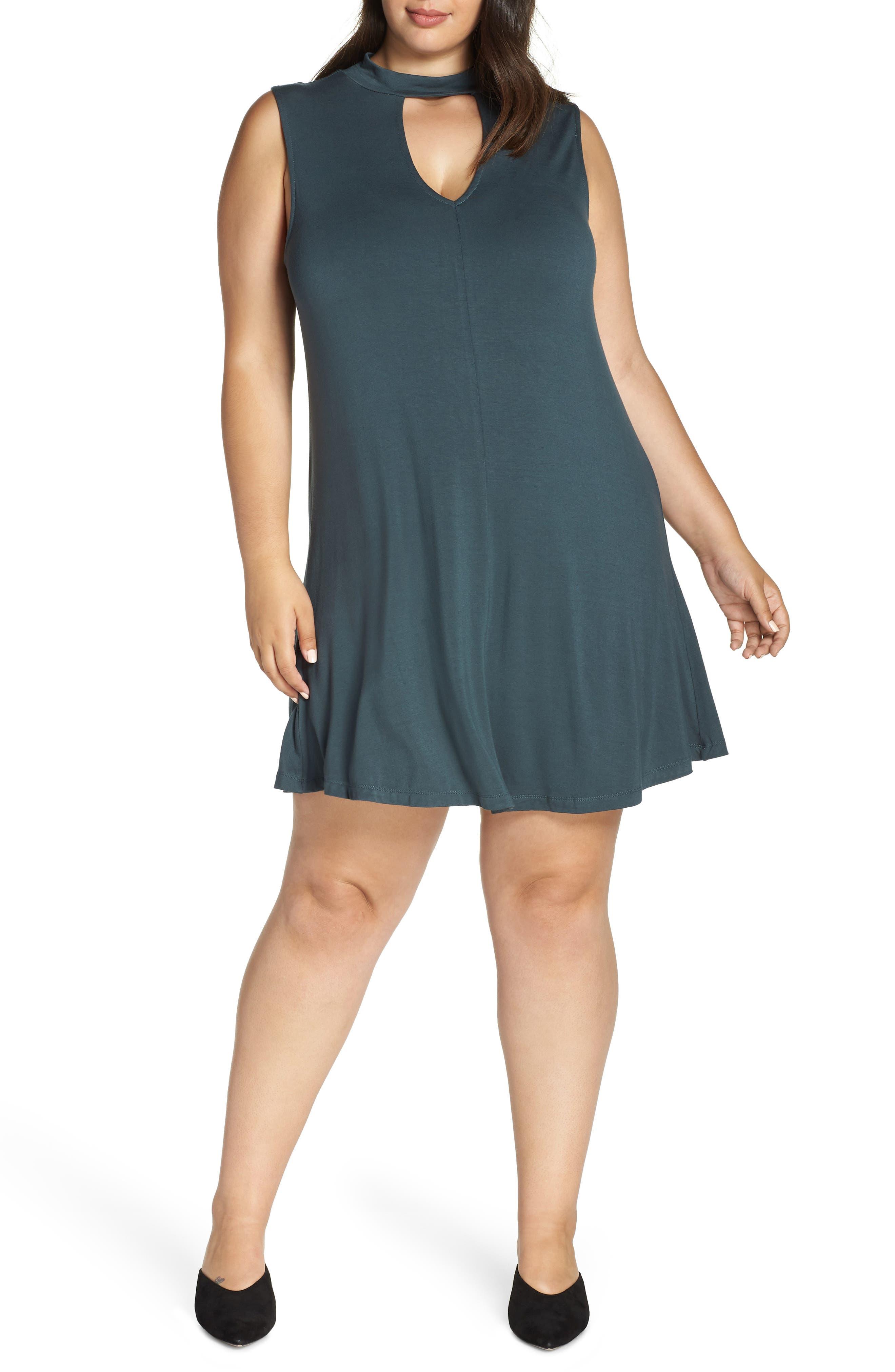 Plus Size Lemon Tart Esperanza Neck Keyhole Skater Dress, Green
