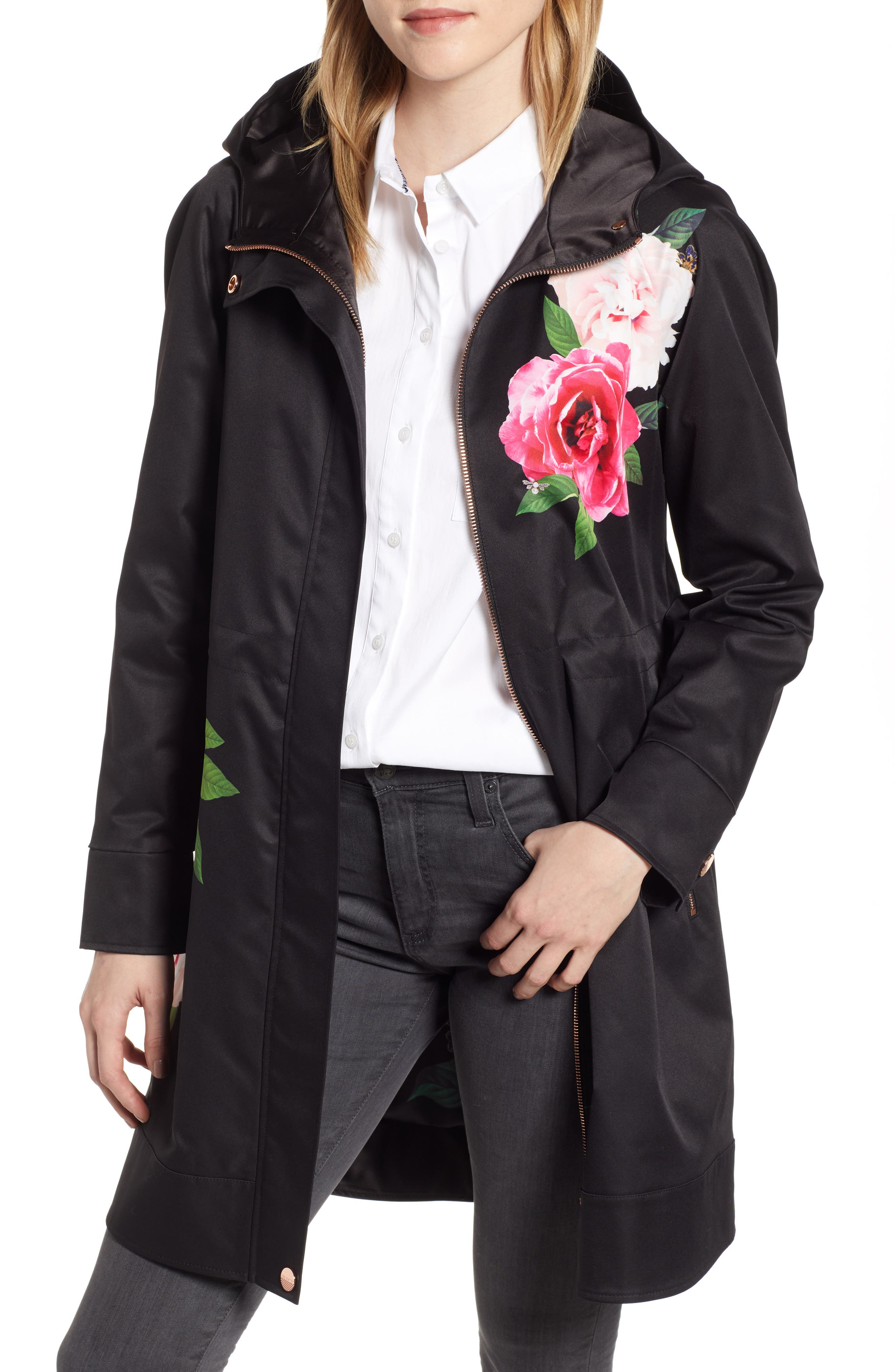 TED BAKER LONDON, Magnificent Hooded Parka Jacket, Main thumbnail 1, color, BLACK
