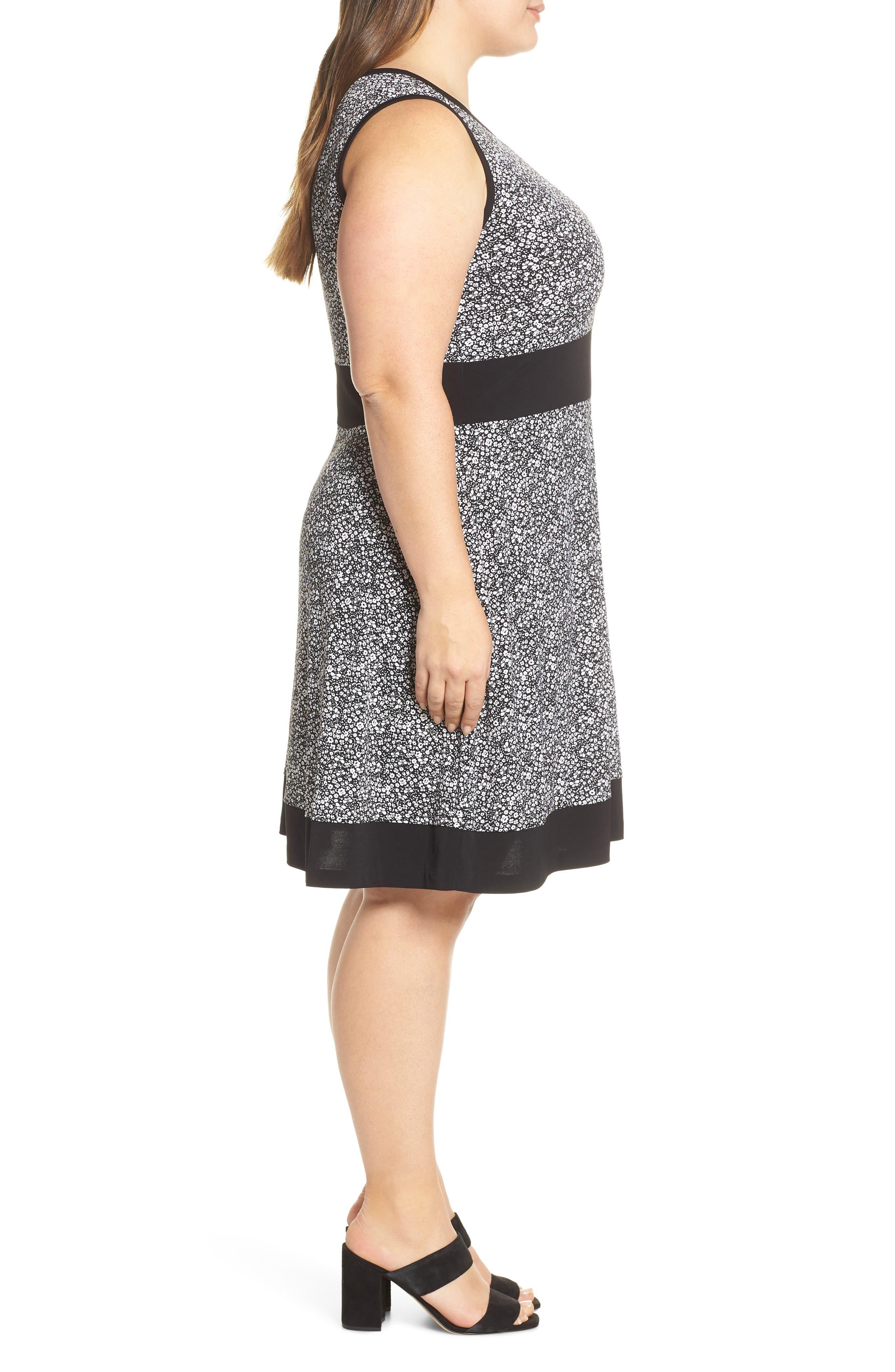 MICHAEL MICHAEL KORS, Spring Twist Dress, Alternate thumbnail 4, color, BLACK/ WHITE