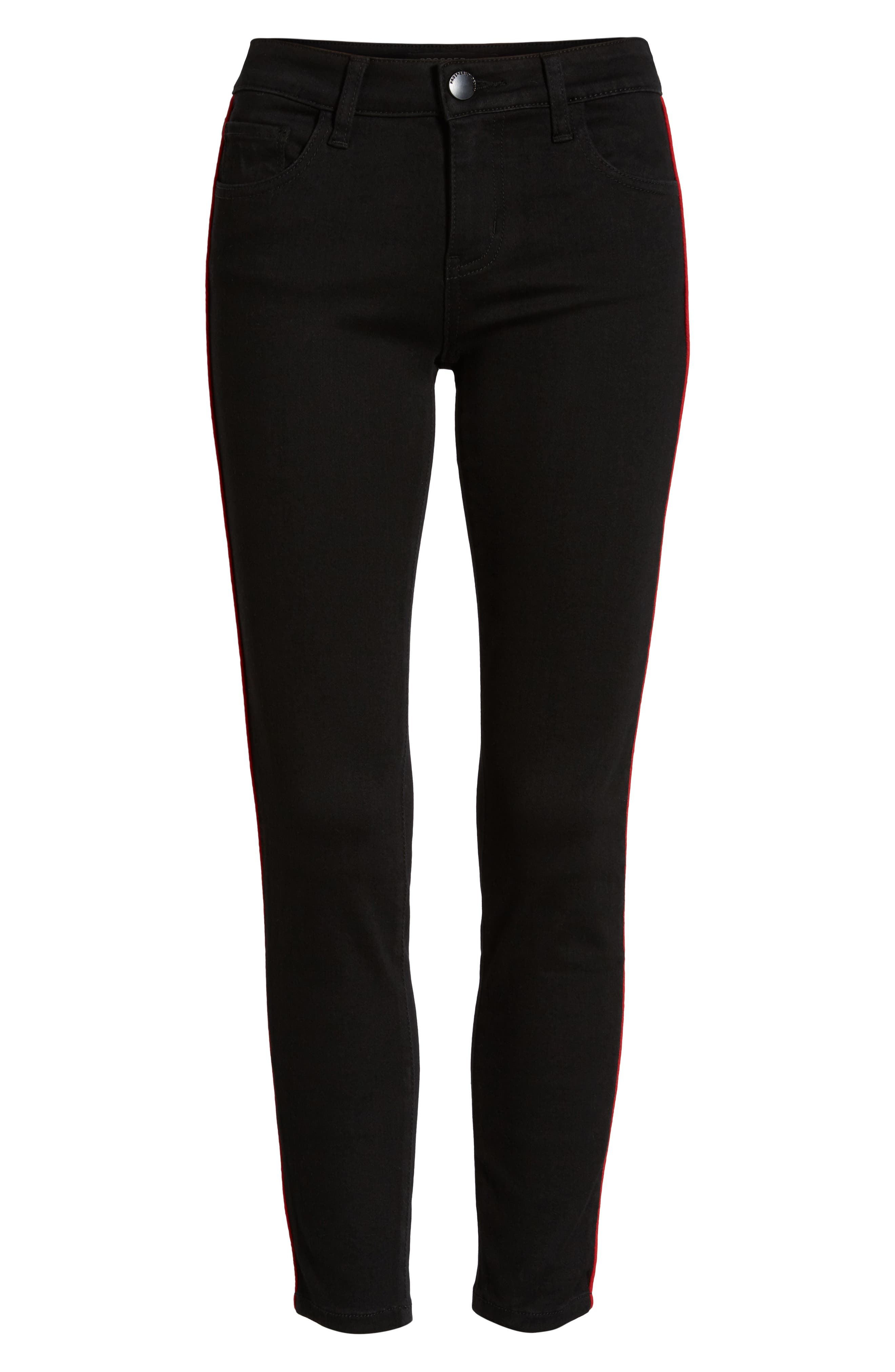PROSPERITY DENIM, Side Stripe Ankle Skinny Jeans, Alternate thumbnail 7, color, BLACK