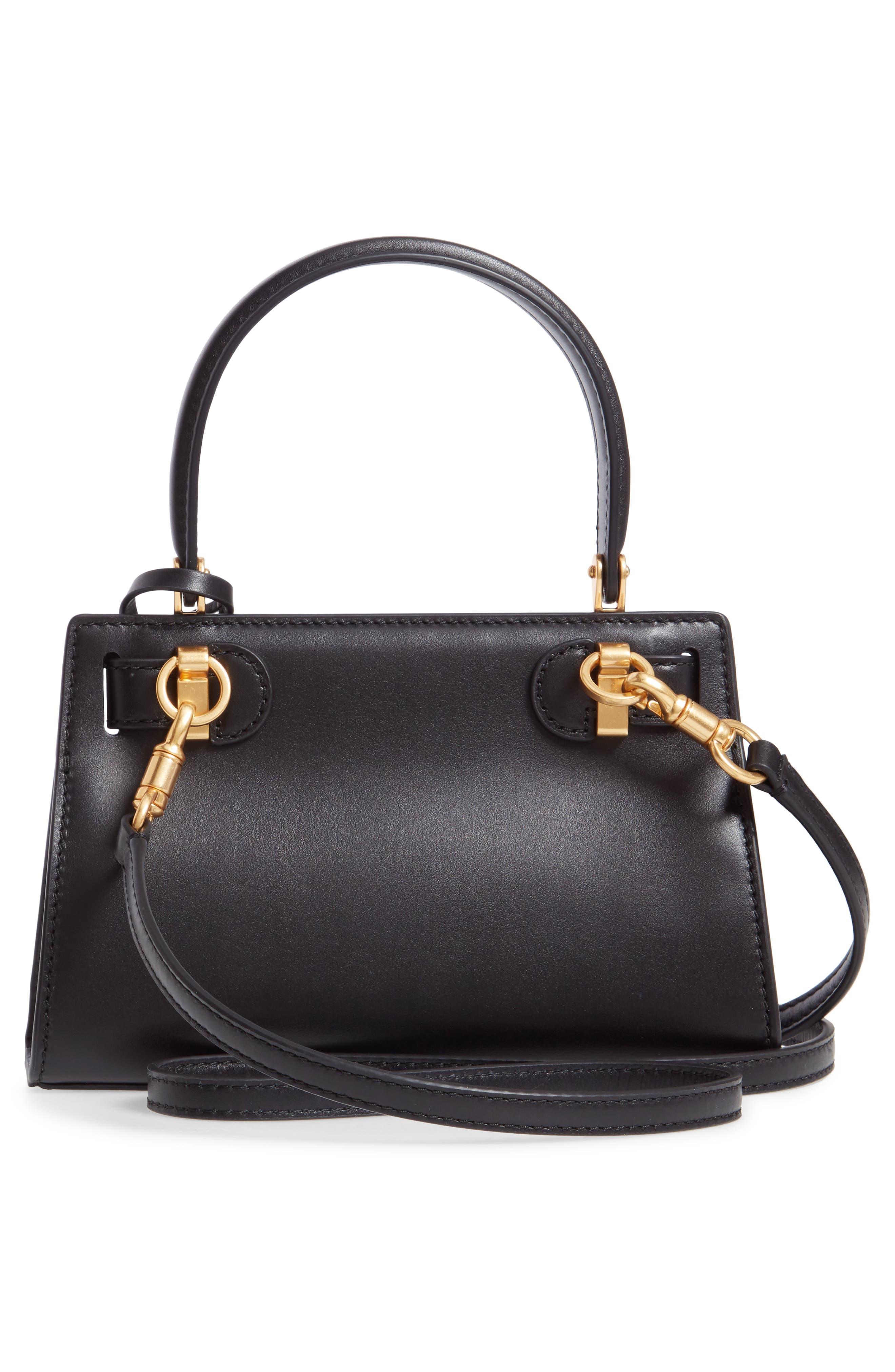 TORY BURCH, Mini Lee Radziwill Leather Bag, Alternate thumbnail 3, color, BLACK