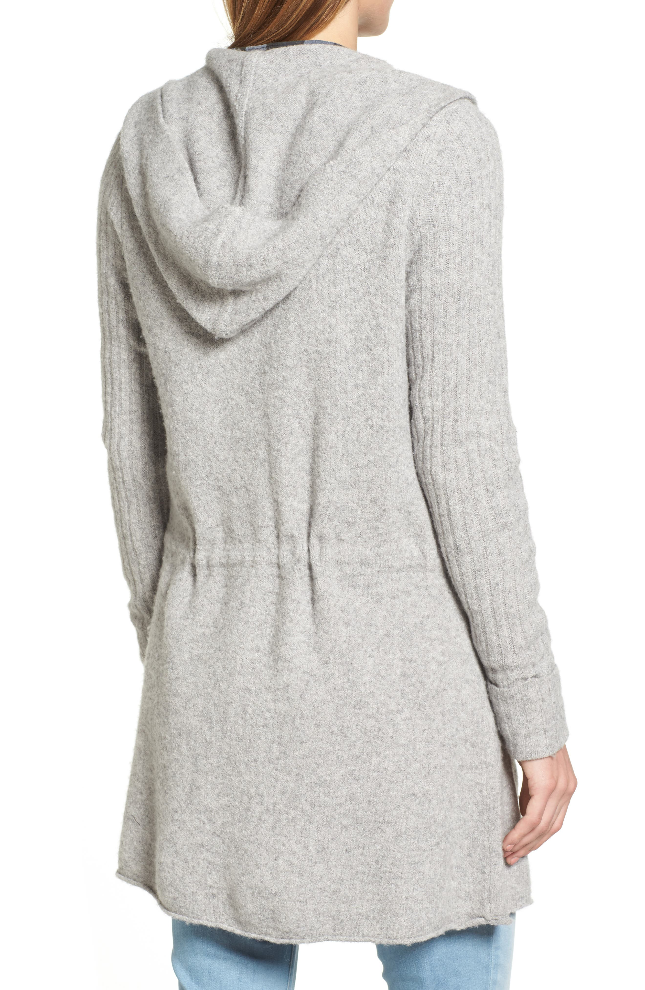 CASLON<SUP>®</SUP>, Hooded Cardigan, Alternate thumbnail 2, color, HEATHER GREY