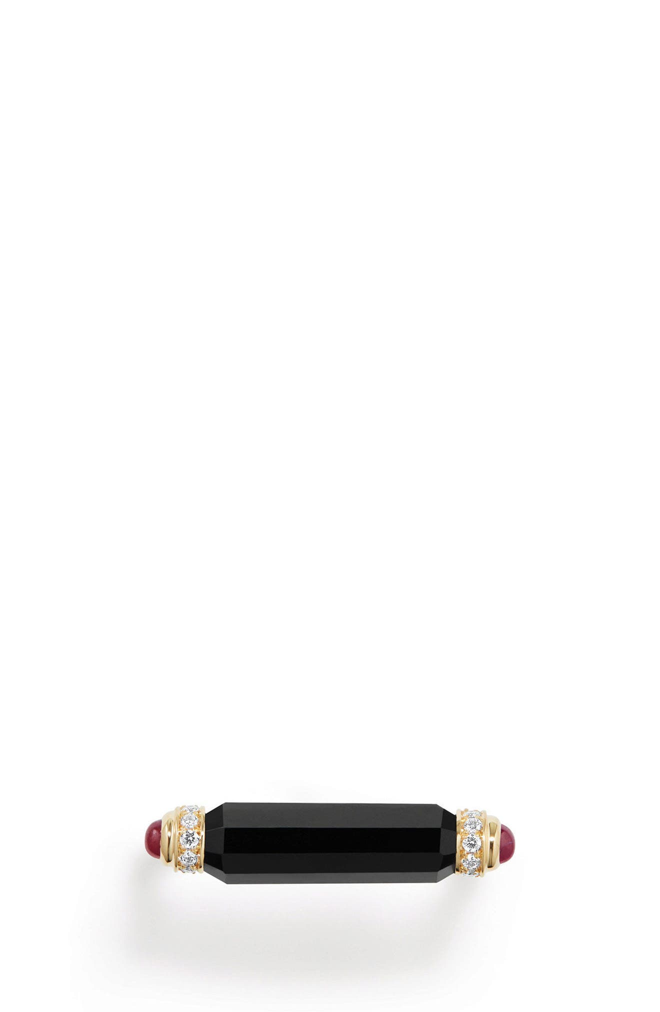 DAVID YURMAN, Barrels Ring with Diamonds in 18K Gold, Alternate thumbnail 3, color, BLACK ONYX