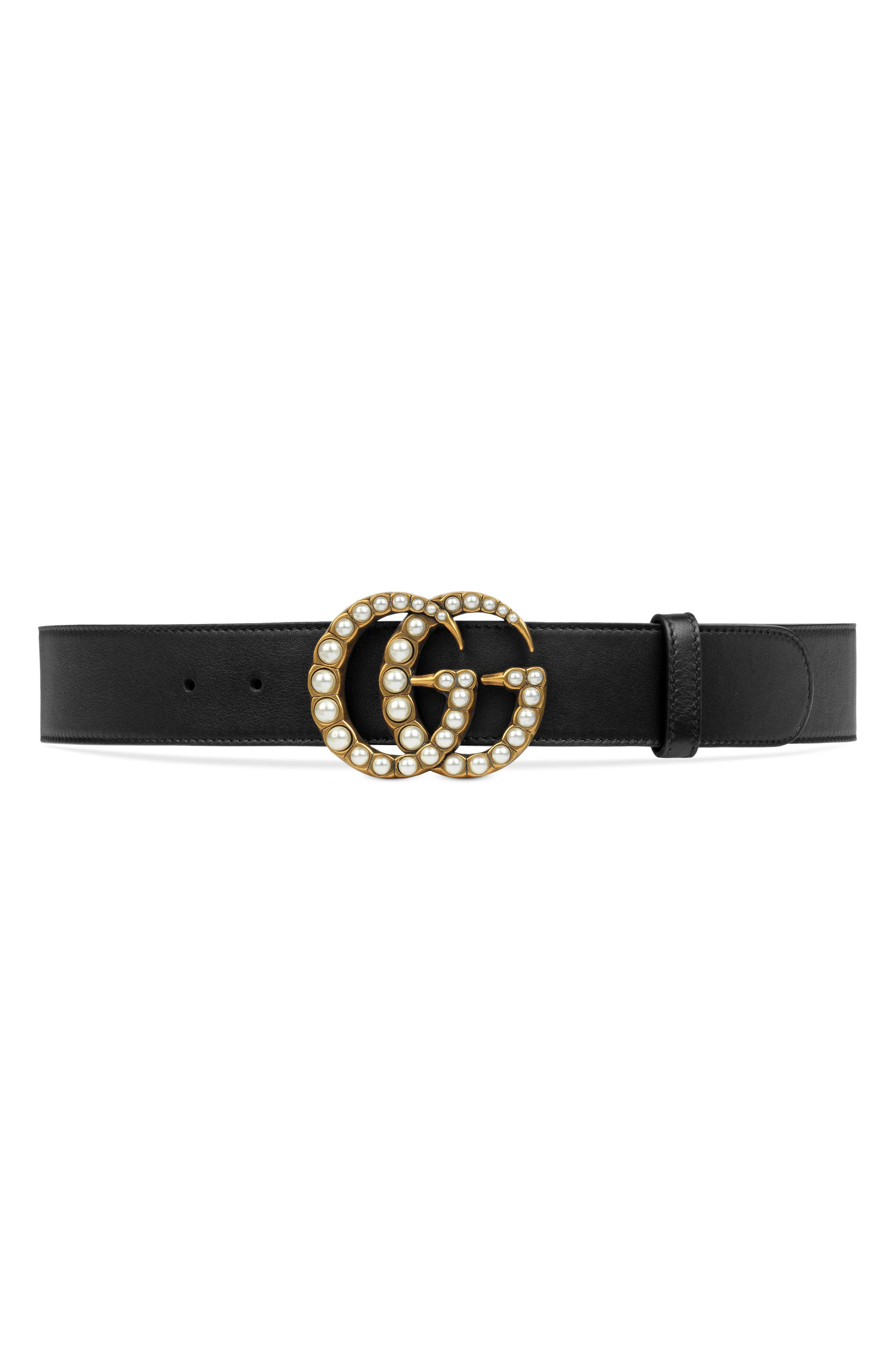 GUCCI, Imitation Pearl Double-G Leather Belt, Main thumbnail 1, color, DLX1T 9094 NERO/CREAM