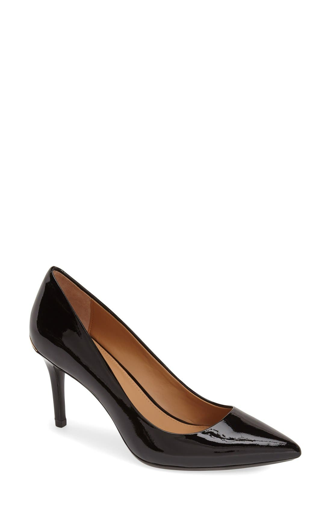 CALVIN KLEIN, 'Gayle' Pointy Toe Pump, Main thumbnail 1, color, BLACK PATENT