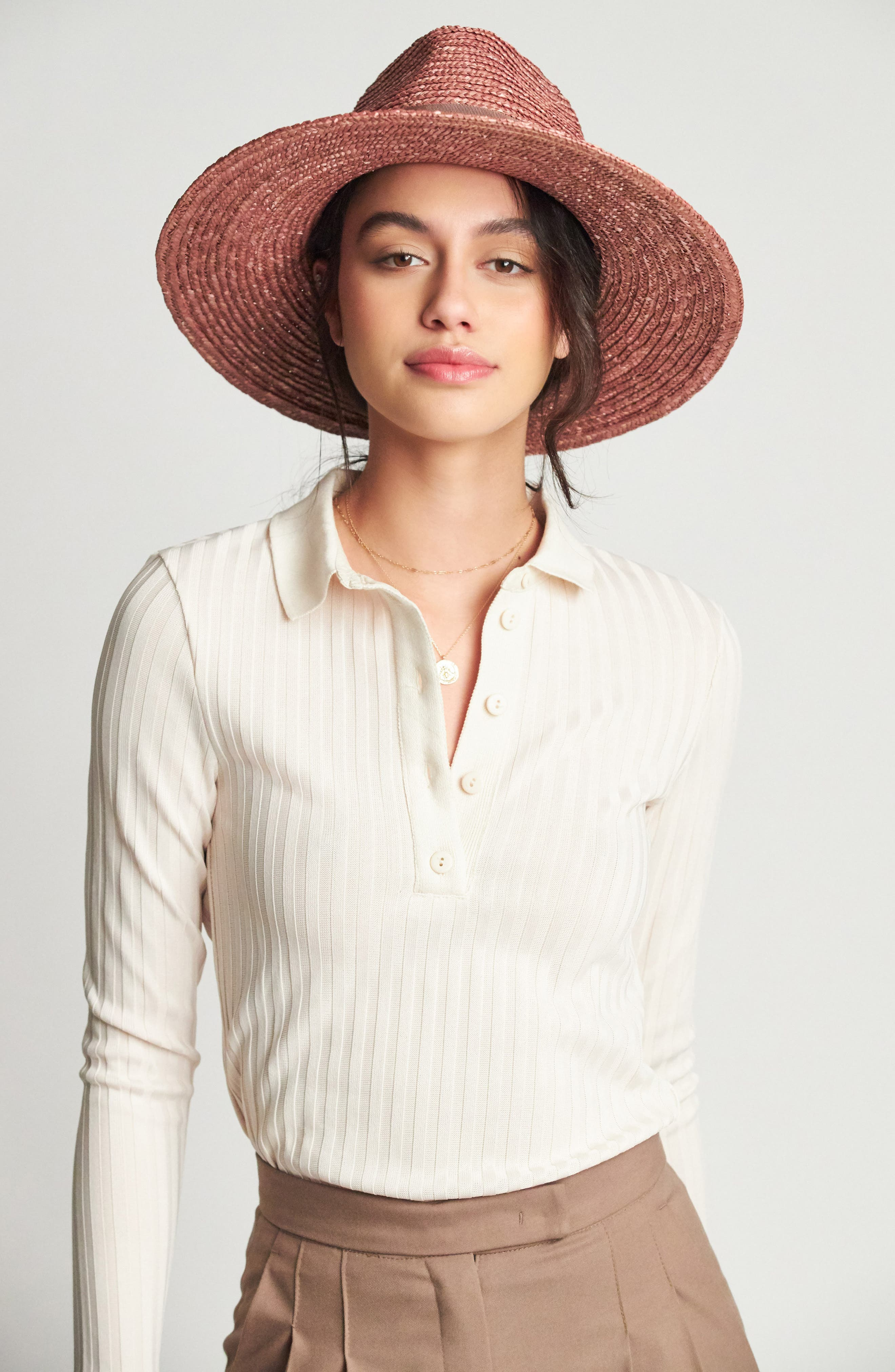 BRIXTON, 'Joanna' Straw Hat, Alternate thumbnail 3, color, LILAC