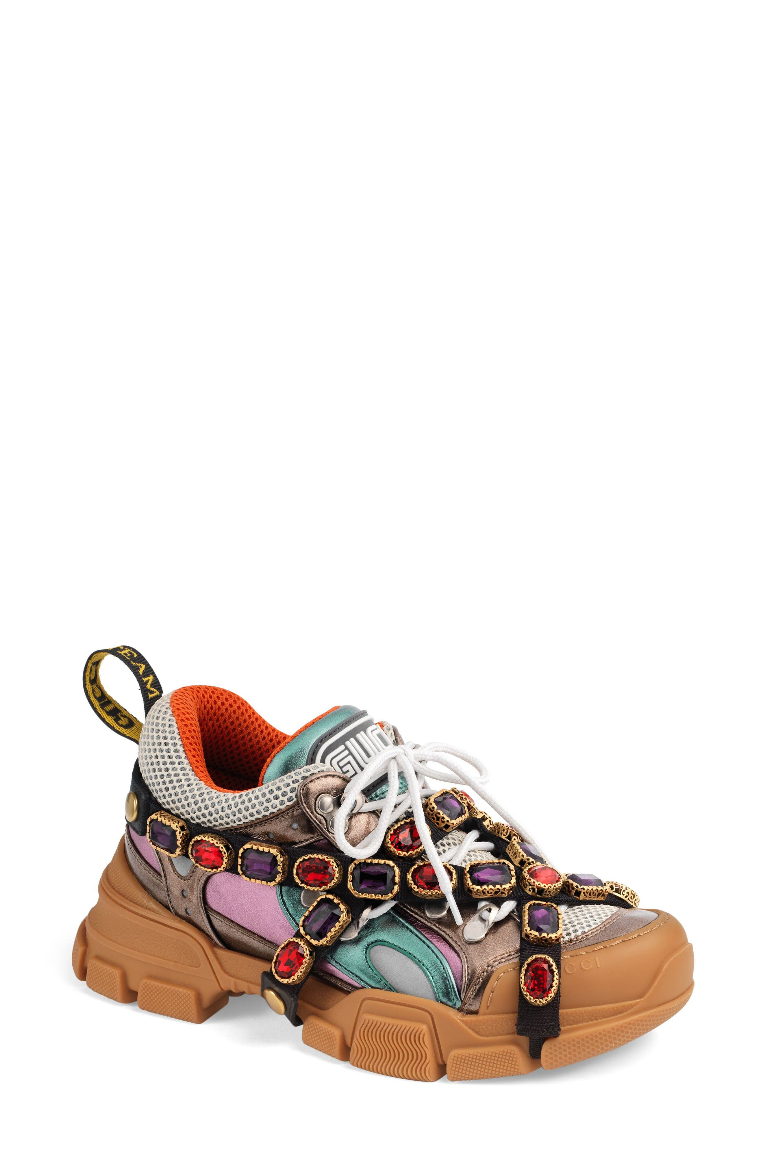 GUCCI, Flashtrek Jewel Embellished Sneaker, Main thumbnail 1, color, BROWN/ BLUE/ RED