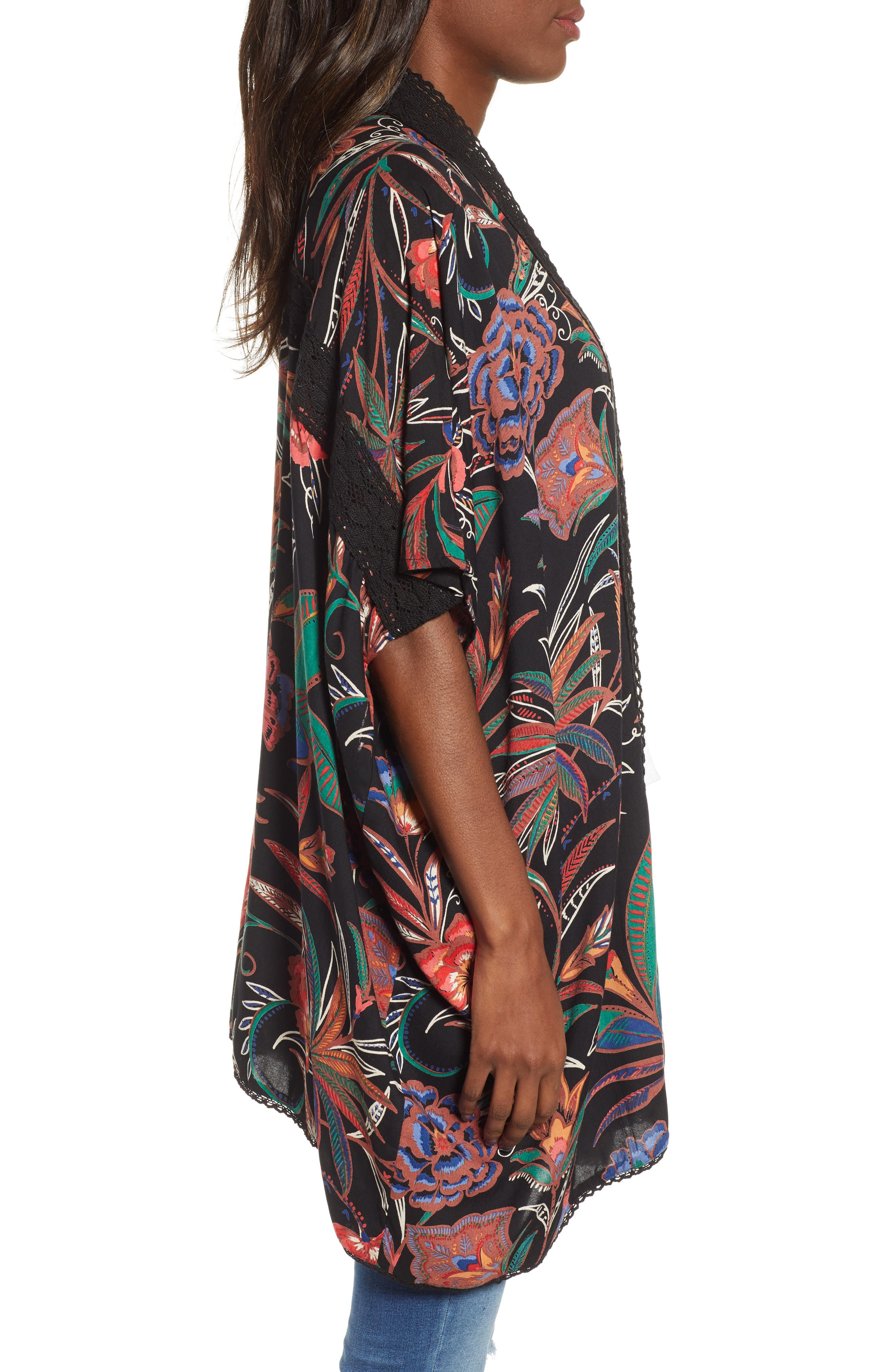 ANGIE, Floral Print Duster, Alternate thumbnail 4, color, BLACK