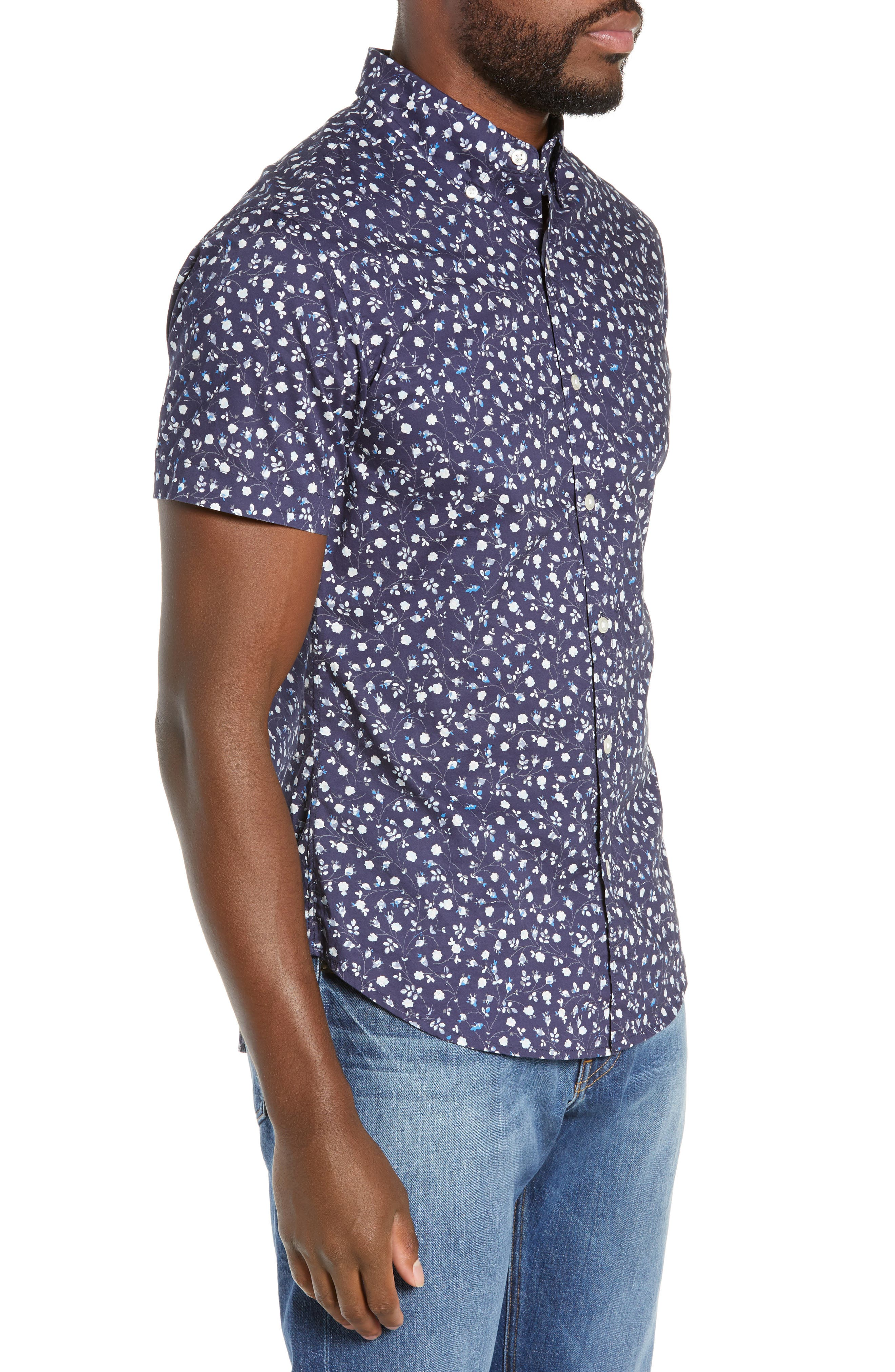BONOBOS, Riviera Slim Fit Floral Print Sport Shirt, Alternate thumbnail 4, color, BLUE FLORAL