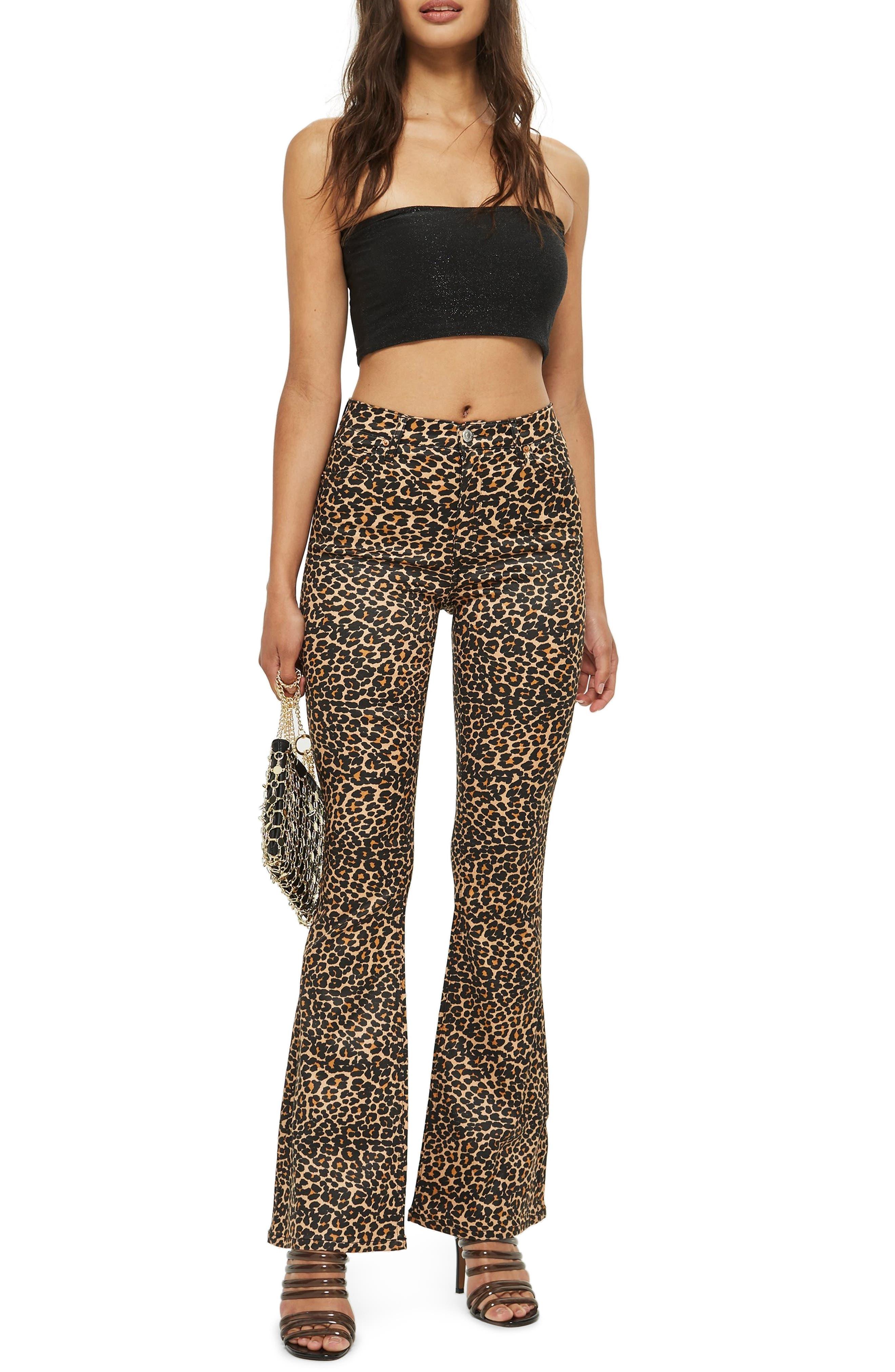 TOPSHOP, MOTO Leopard Print Flare Jeans, Main thumbnail 1, color, 200