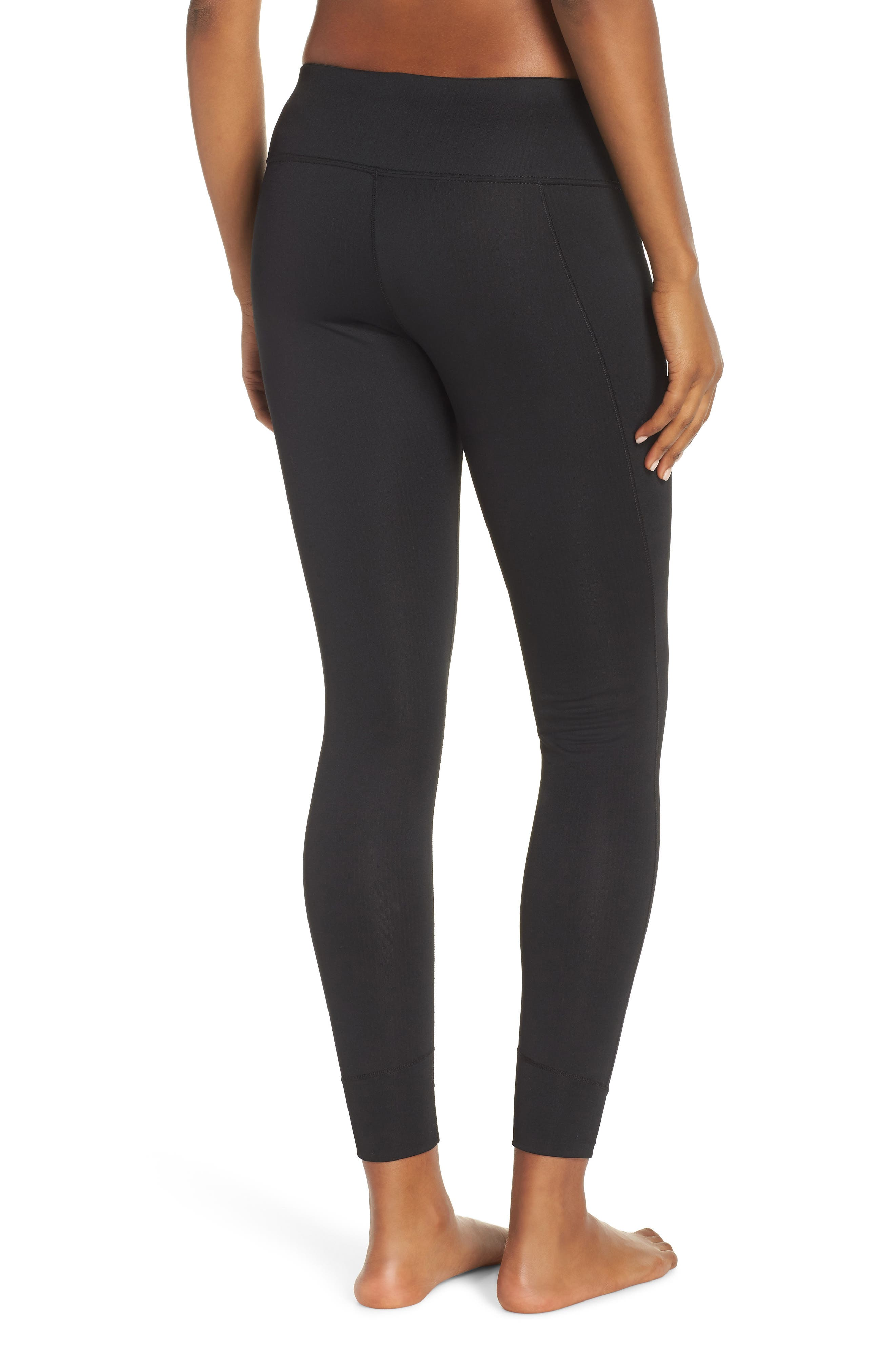 PATAGONIA, Capilene Midweight Base Layer Tights, Alternate thumbnail 2, color, BLACK