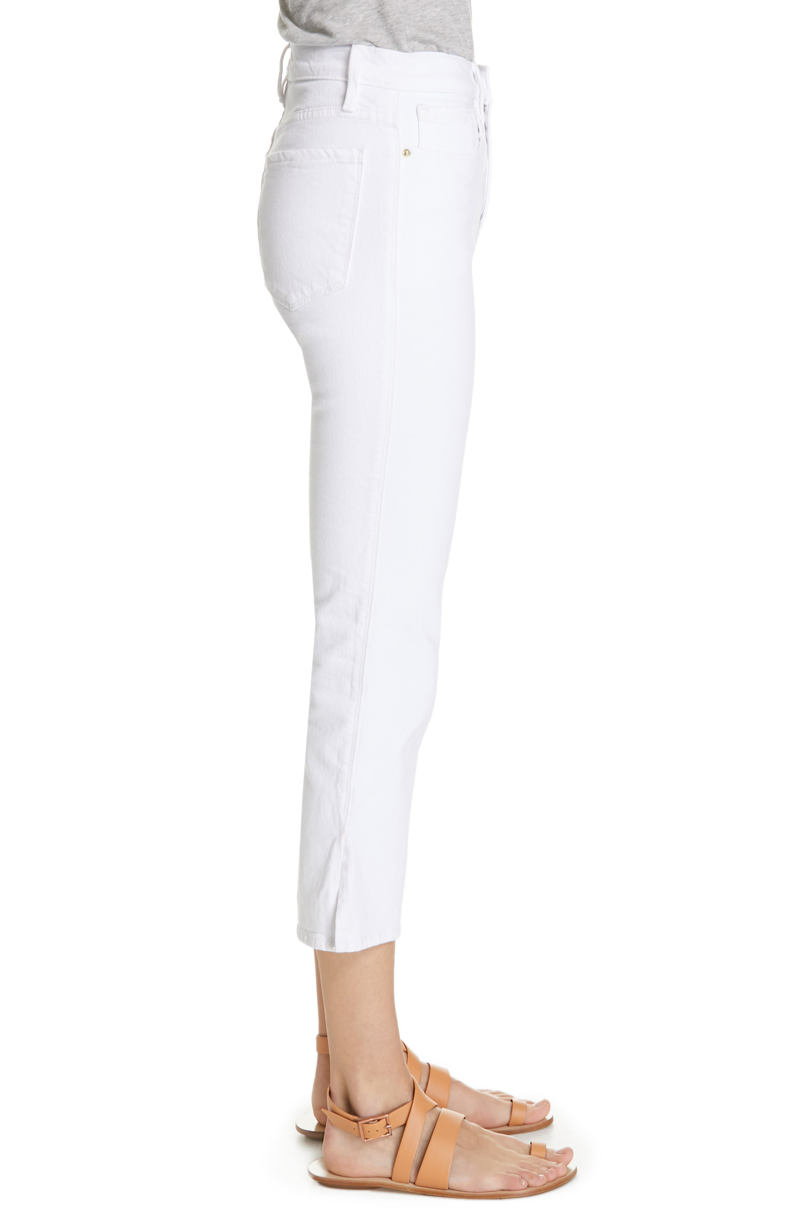 FRAME, Le Sylvie Slit Hem Ankle Slim Jeans, Alternate thumbnail 3, color, 100