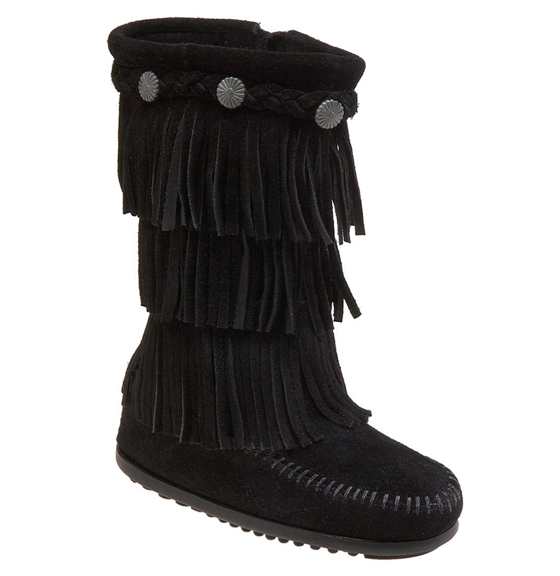 MINNETONKA, Three-Layer Fringe Boot, Main thumbnail 1, color, BLACK