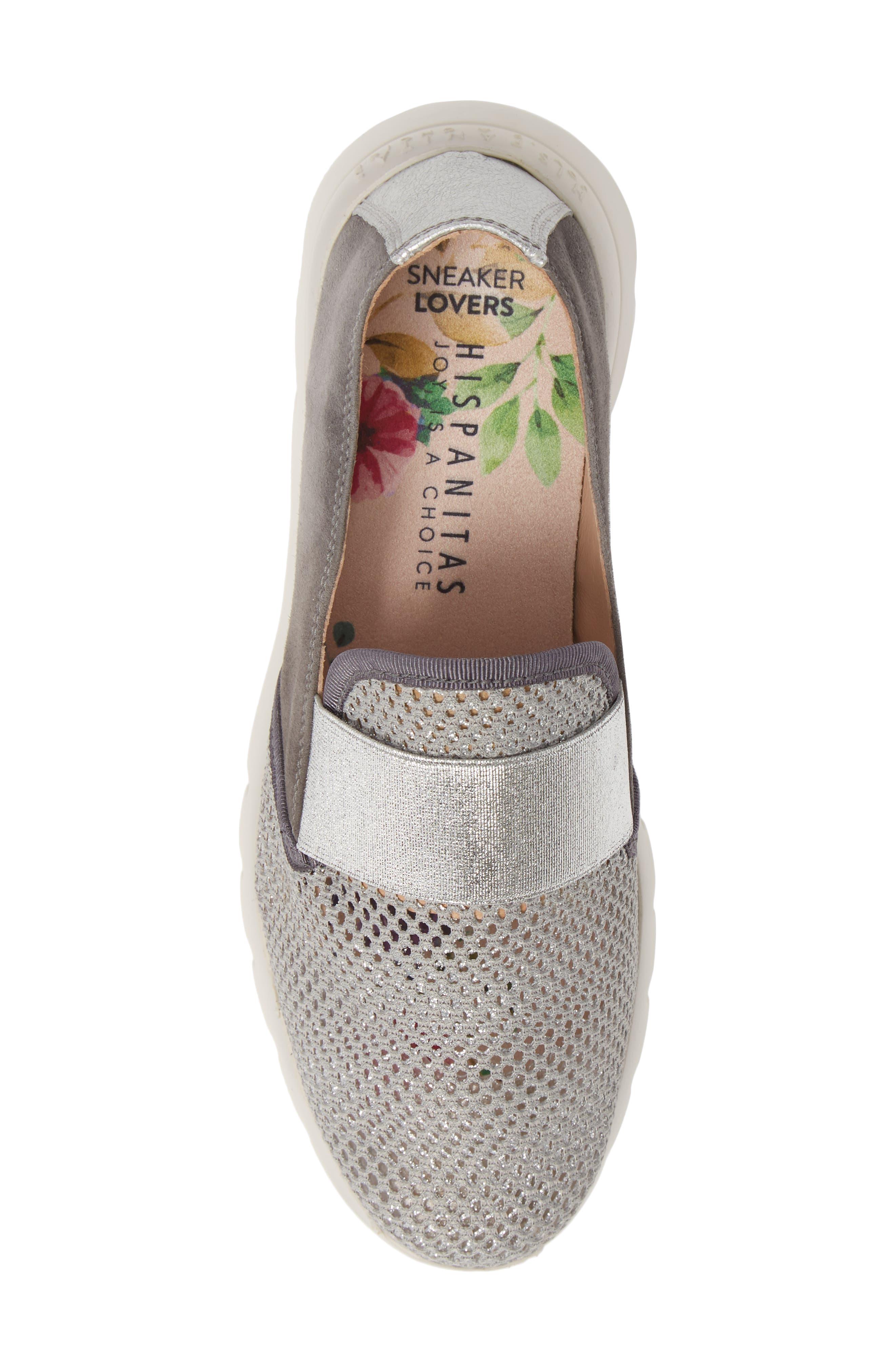 HISPANITAS, Reeva Slip-On Wedge Sneaker, Alternate thumbnail 5, color, GREY CARBON SUEDE