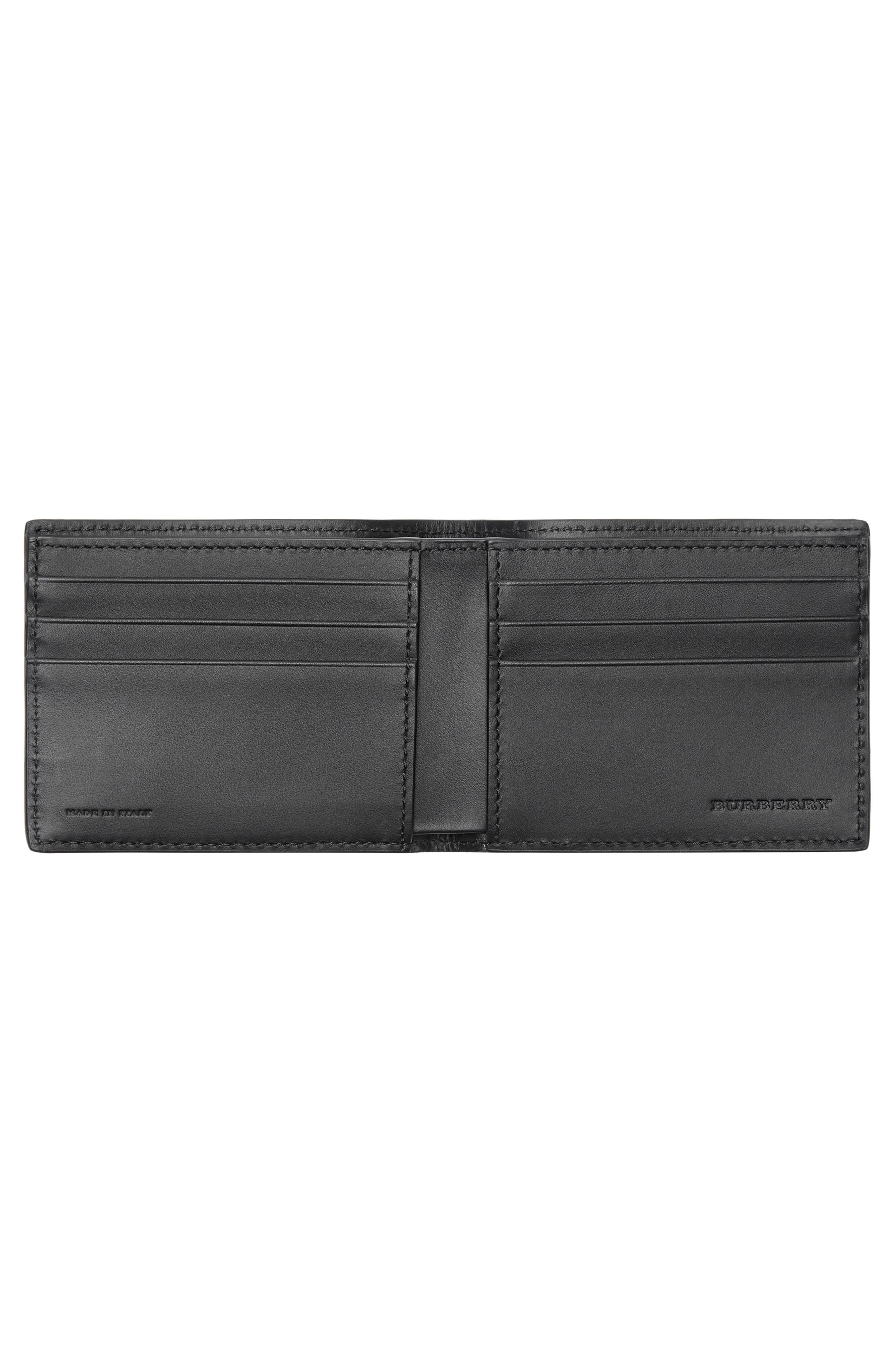 BURBERRY, Leather Bifold Wallet, Alternate thumbnail 2, color, 001