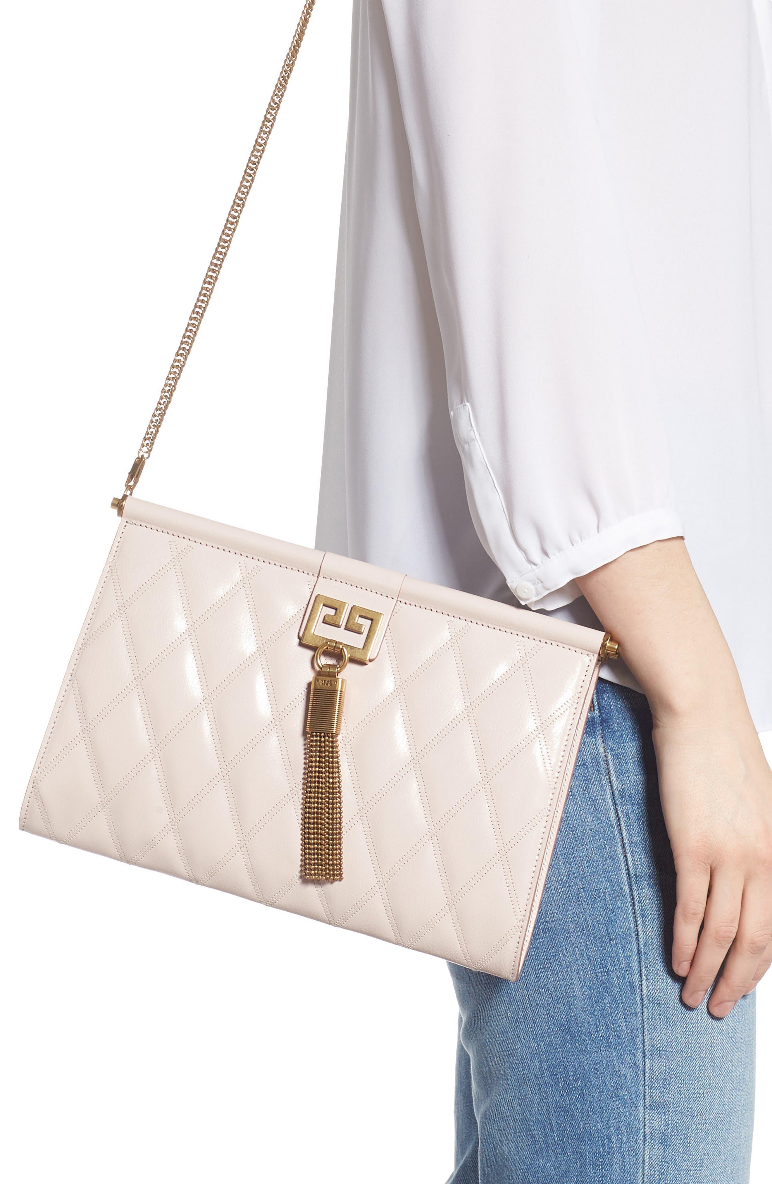 GIVENCHY, Gem Quilted Leather Frame Shoulder Bag, Alternate thumbnail 2, color, PALE PINK
