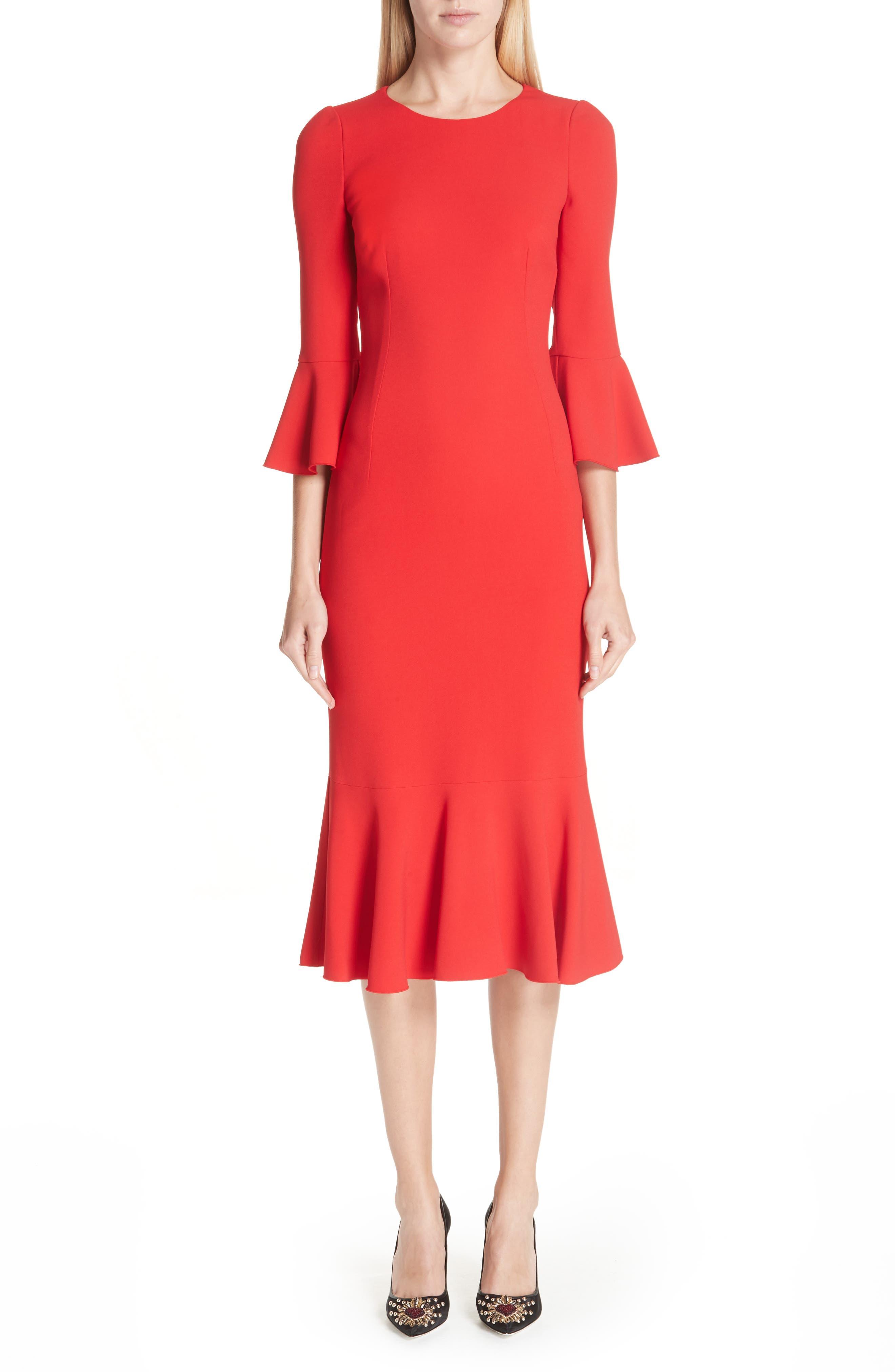 Dolce & gabbana Ruffle Hem Dress, US / 40 IT - Red