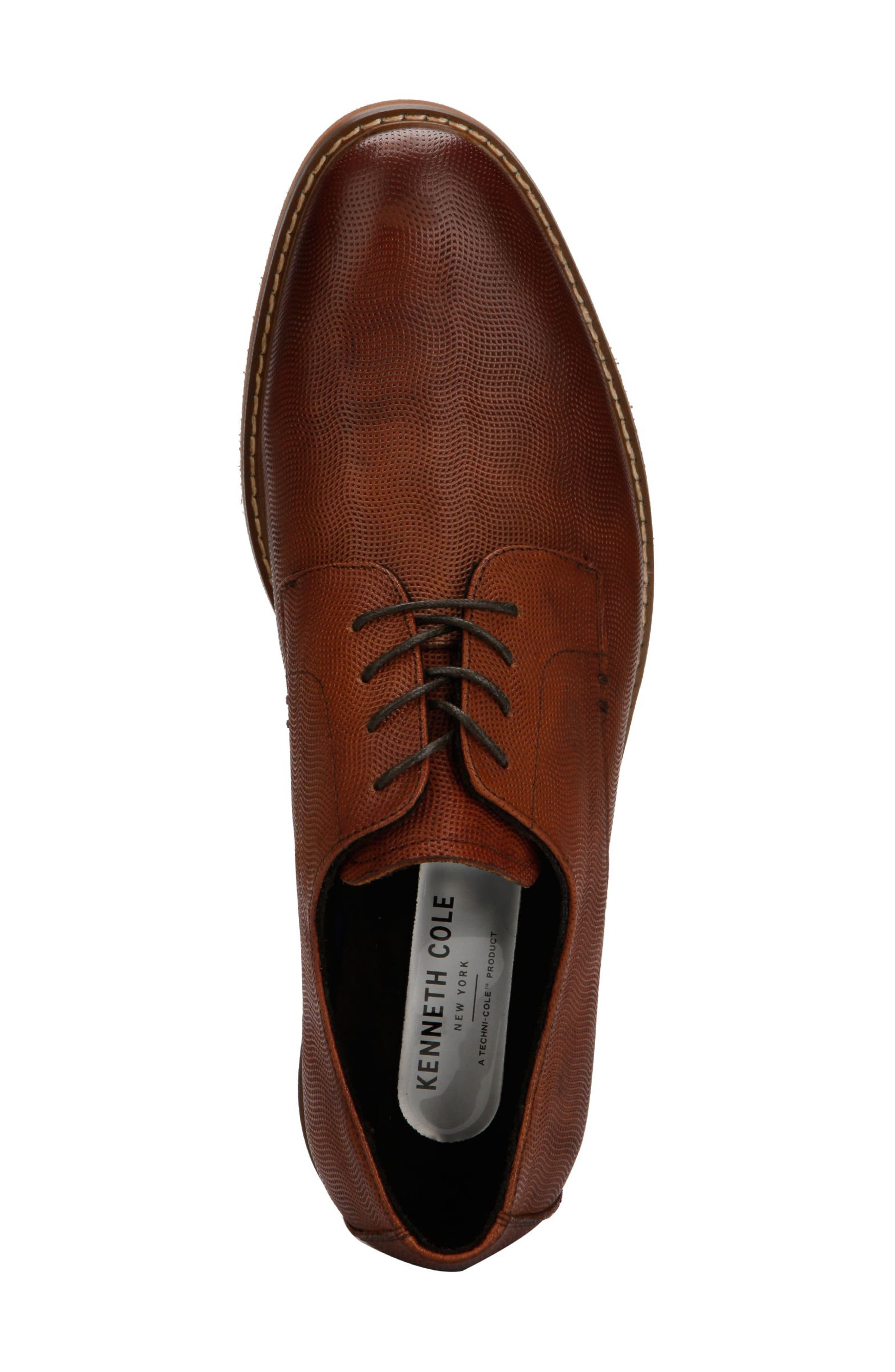KENNETH COLE NEW YORK, Dance Textured Plain Toe Derby, Alternate thumbnail 3, color, COGNAC EMBOSSED LEATHER