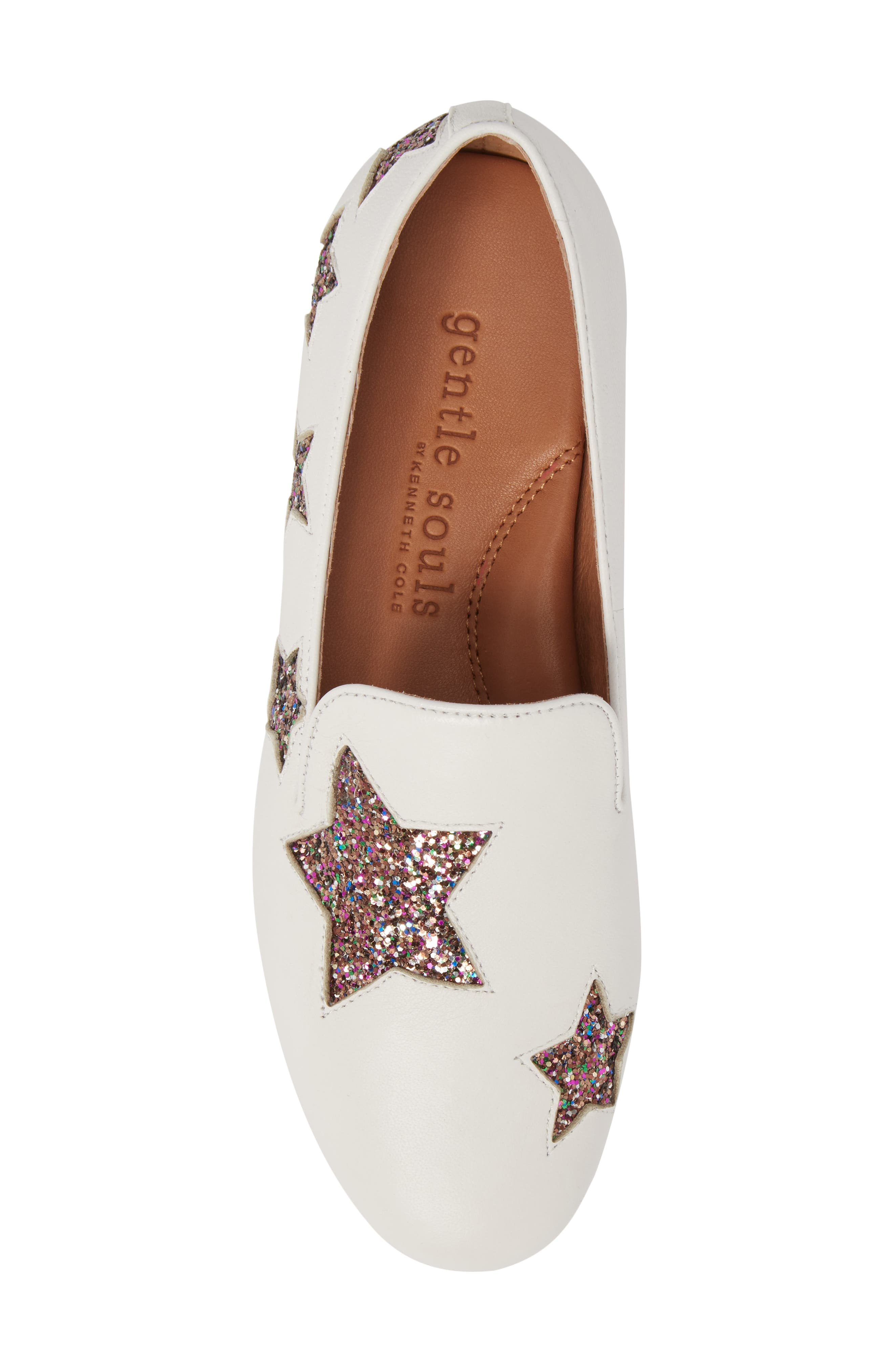 GENTLE SOULS BY KENNETH COLE, Eugene Stars Flat, Alternate thumbnail 5, color, WHITE STARS LEATHER