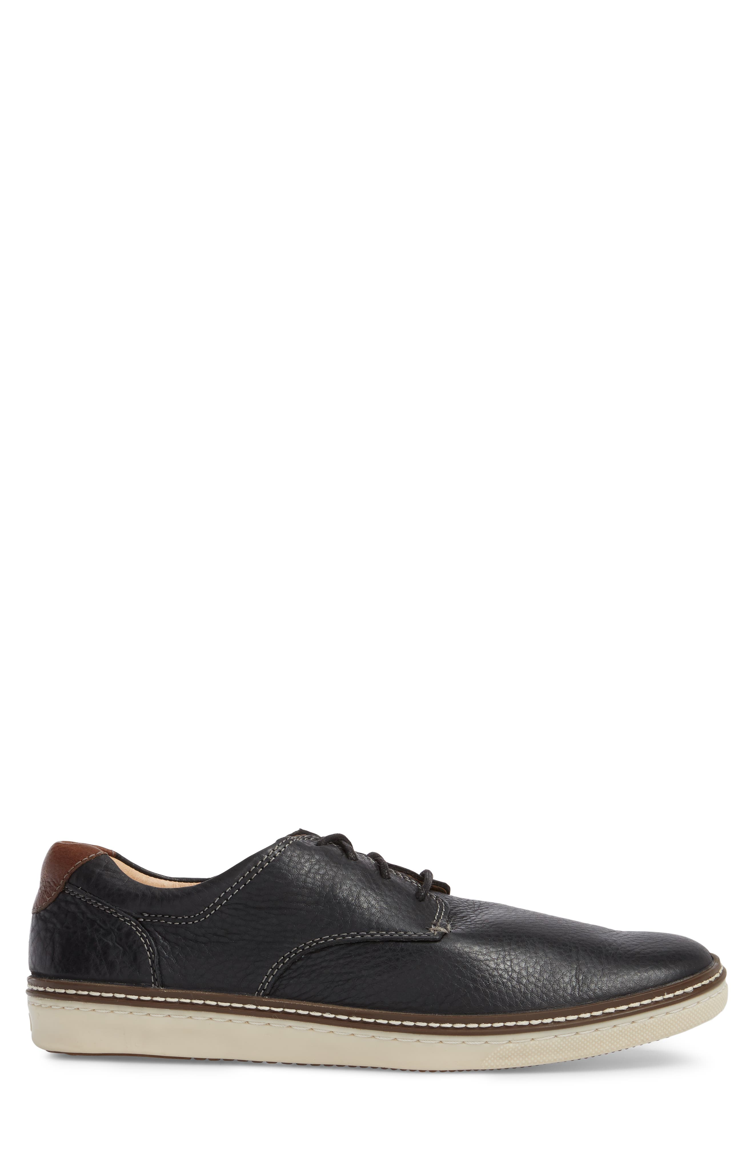 JOHNSTON & MURPHY, McGuffey Derby Sneaker, Alternate thumbnail 3, color, BLACK LEATHER