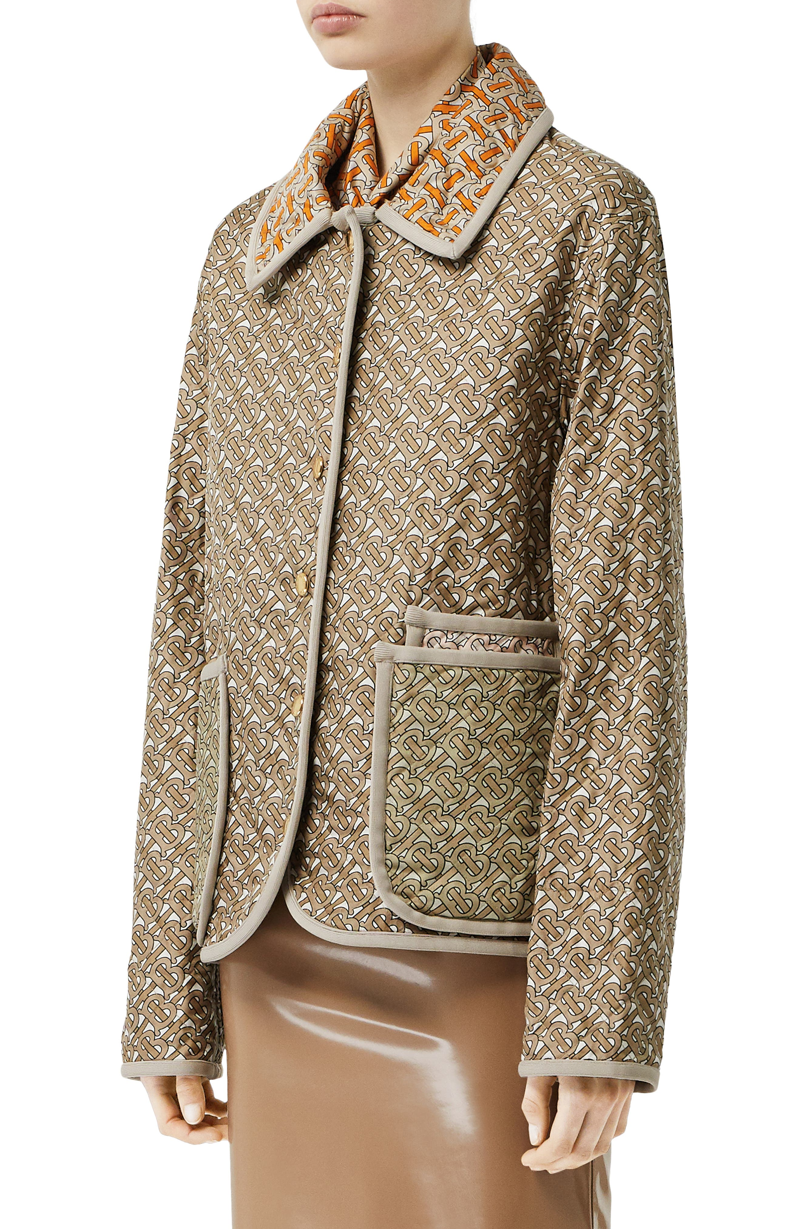 BURBERRY, Monogram Logo Print Quilted Silk Jacket, Alternate thumbnail 3, color, ARCHIVE BEIGE
