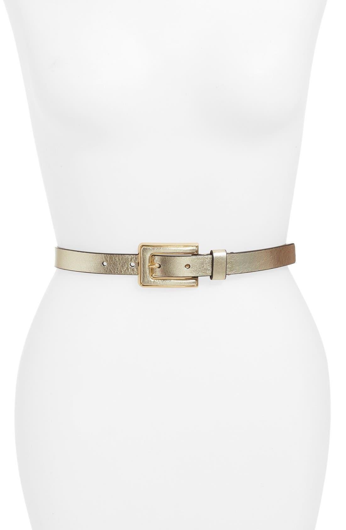 KATE SPADE NEW YORK, metallic leather belt, Main thumbnail 1, color, 710