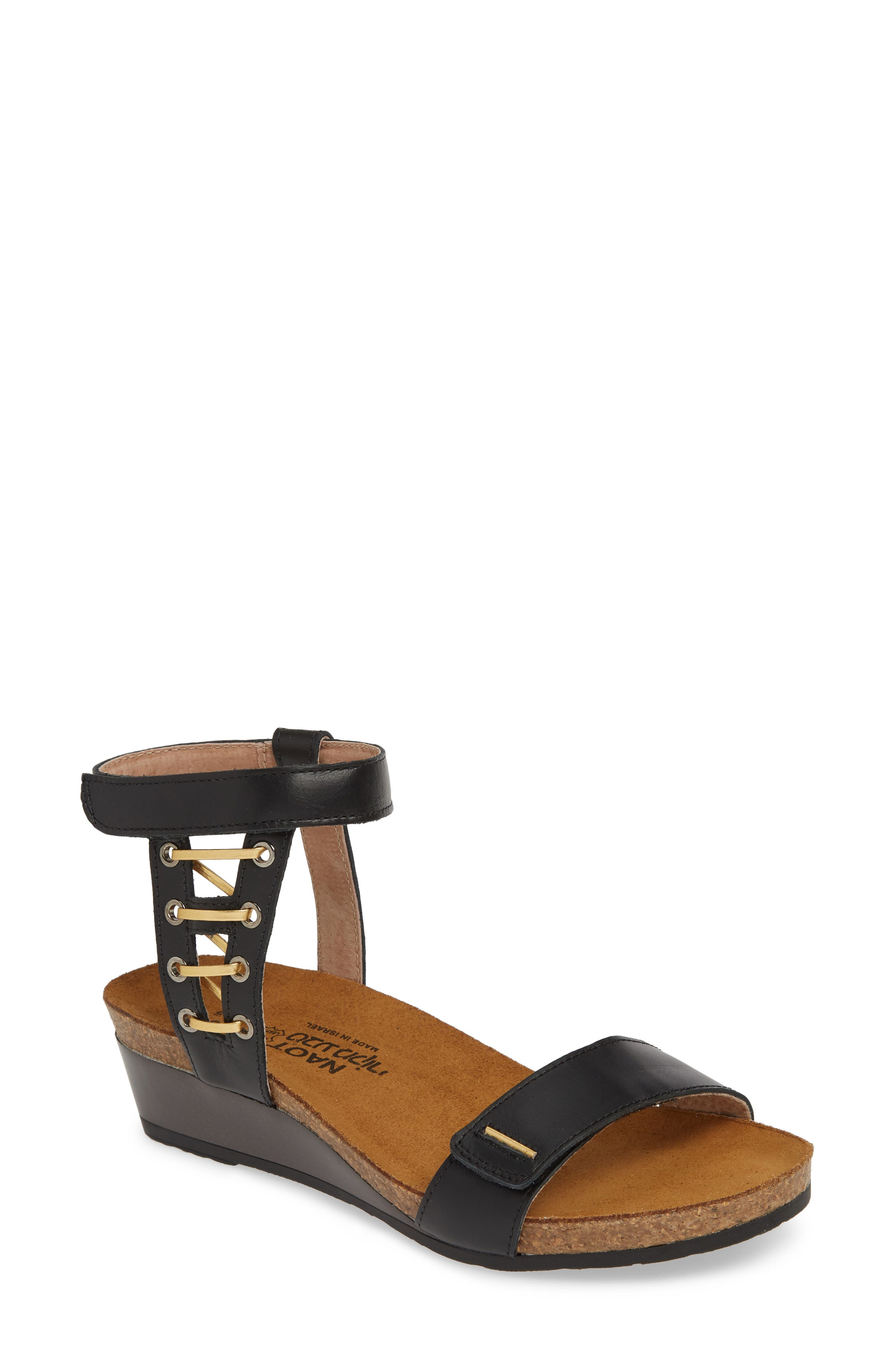 NAOT, Wizard Sandal, Main thumbnail 1, color, BLACK RAVEN/ GOLD