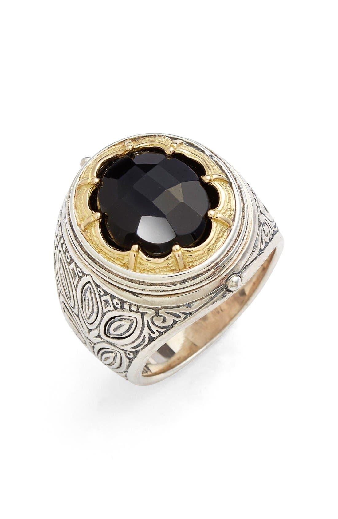 KONSTANTINO, 'Orpheus' Petal Set Semiprecious Stone Ring, Main thumbnail 1, color, SILVER/ GOLD/ ONYX