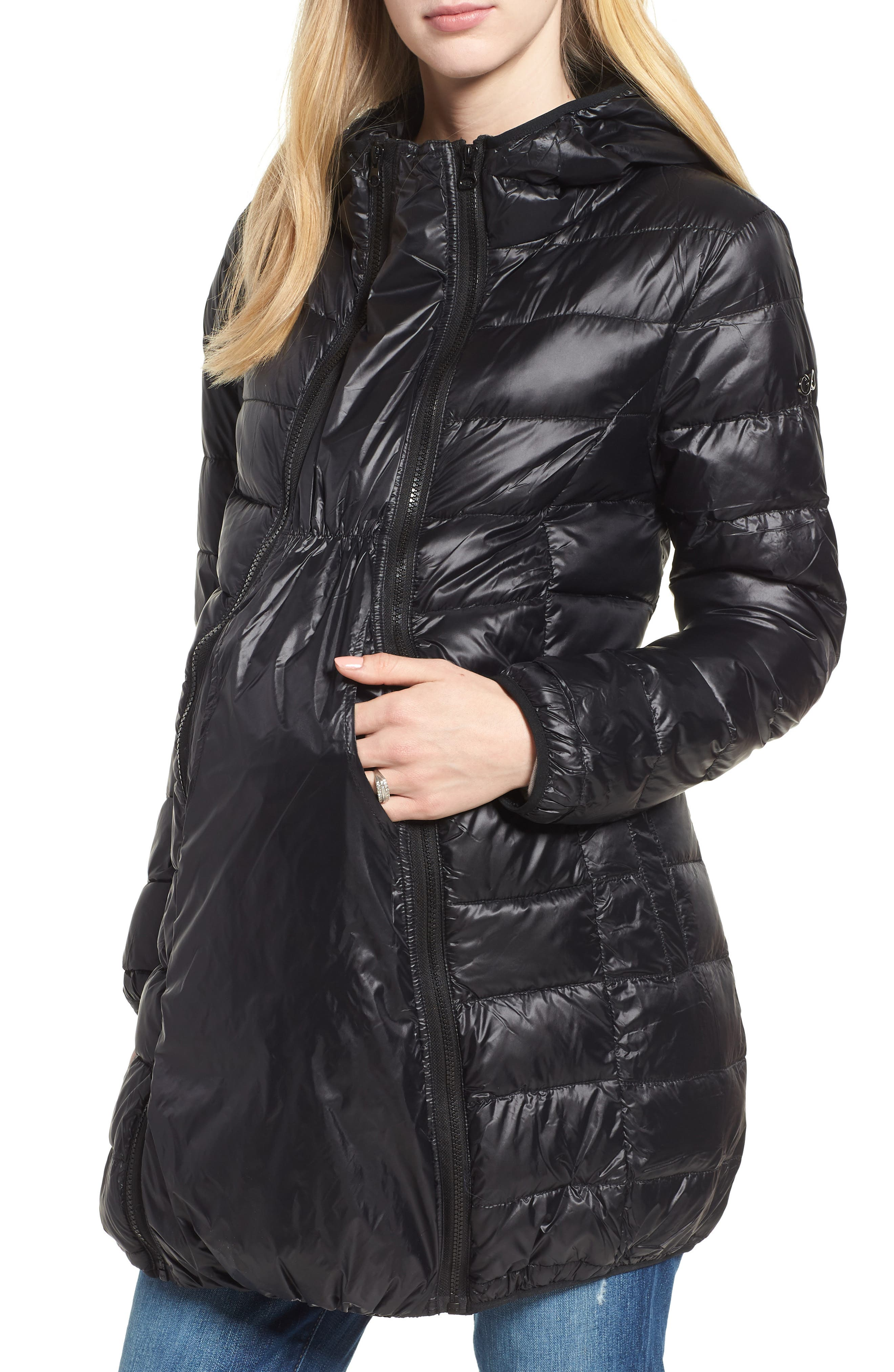 MODERN ETERNITY Lightweight Down 3-in-1 Maternity/Nursing Jacket, Main, color, BLACK