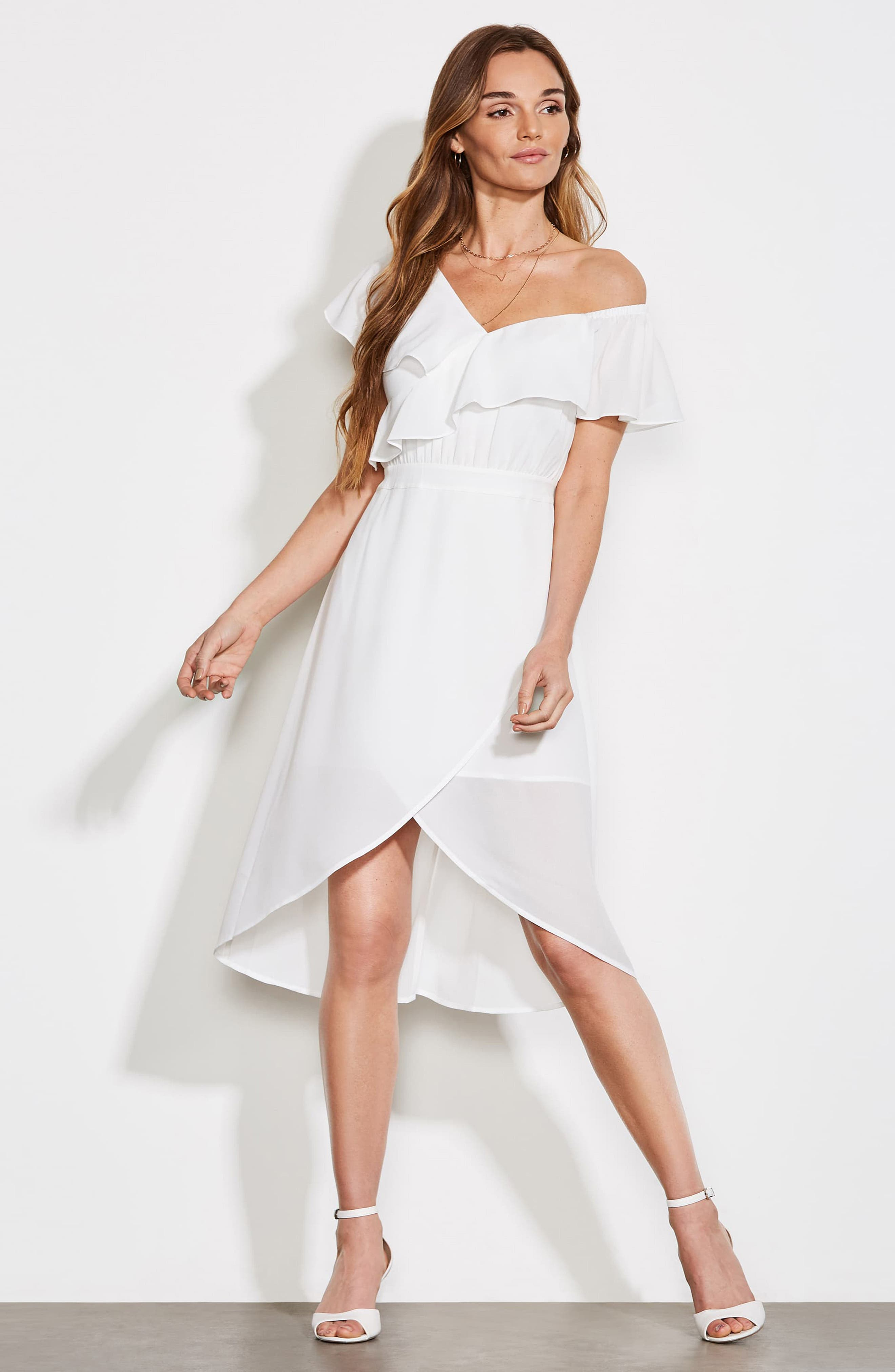 ALI & JAY, Day at the Races Chiffon Dress, Alternate thumbnail 8, color, WHITE