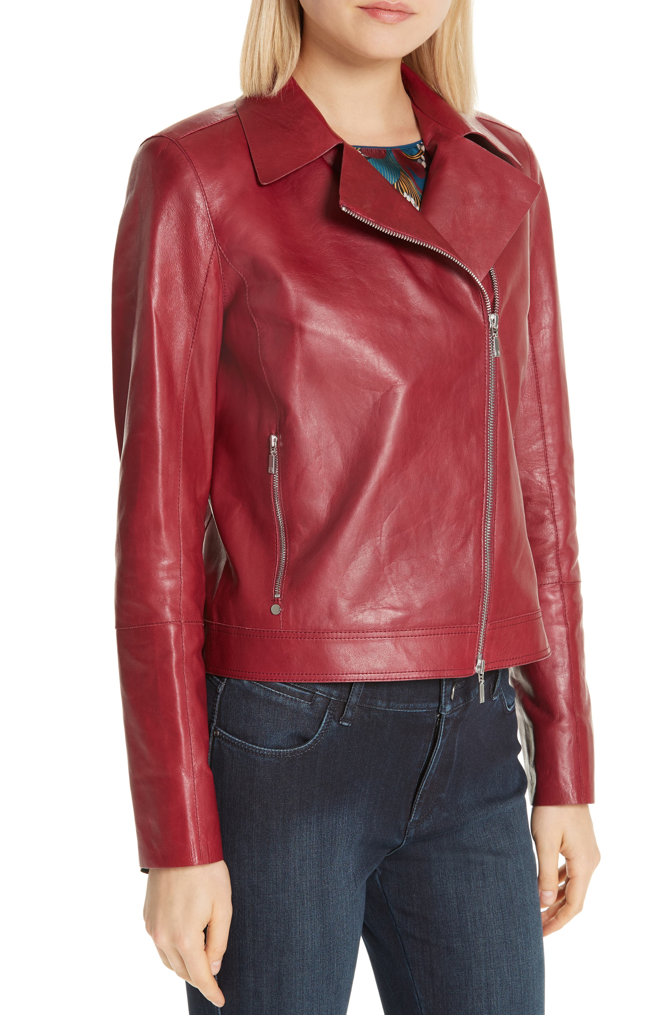 LAFAYETTE 148 NEW YORK, Marykate Leather Moto Jacket, Alternate thumbnail 4, color, 600