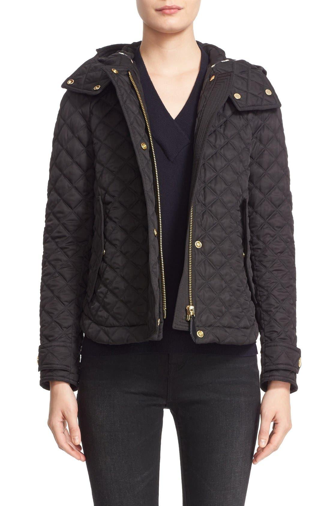 BURBERRY BRIT, 'Leightonbury' Quilted Hooded Jacket, Main thumbnail 1, color, 001