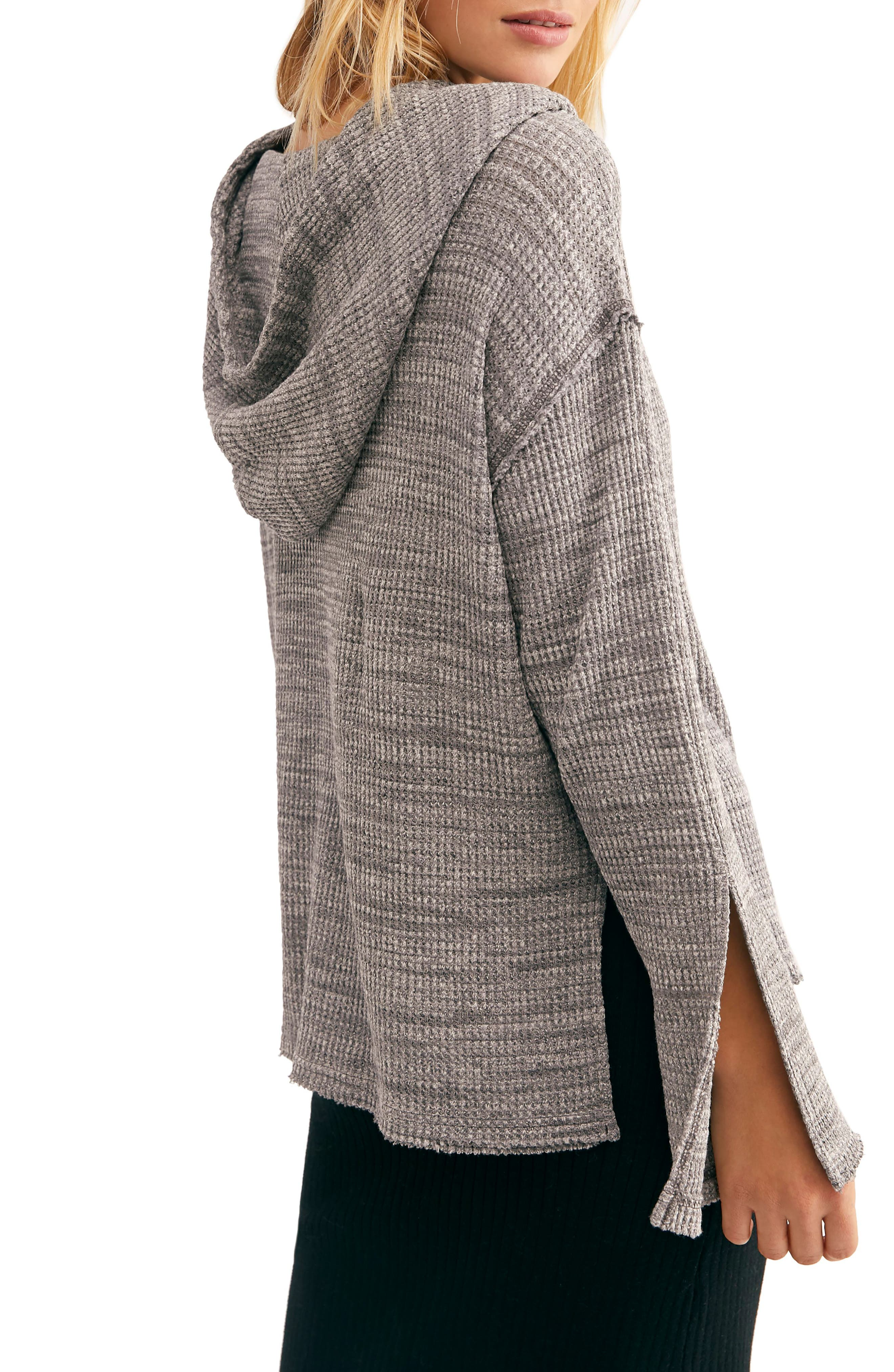 FREE PEOPLE, Endless Summer by Free People Hooded Knit Top, Alternate thumbnail 2, color, GREY