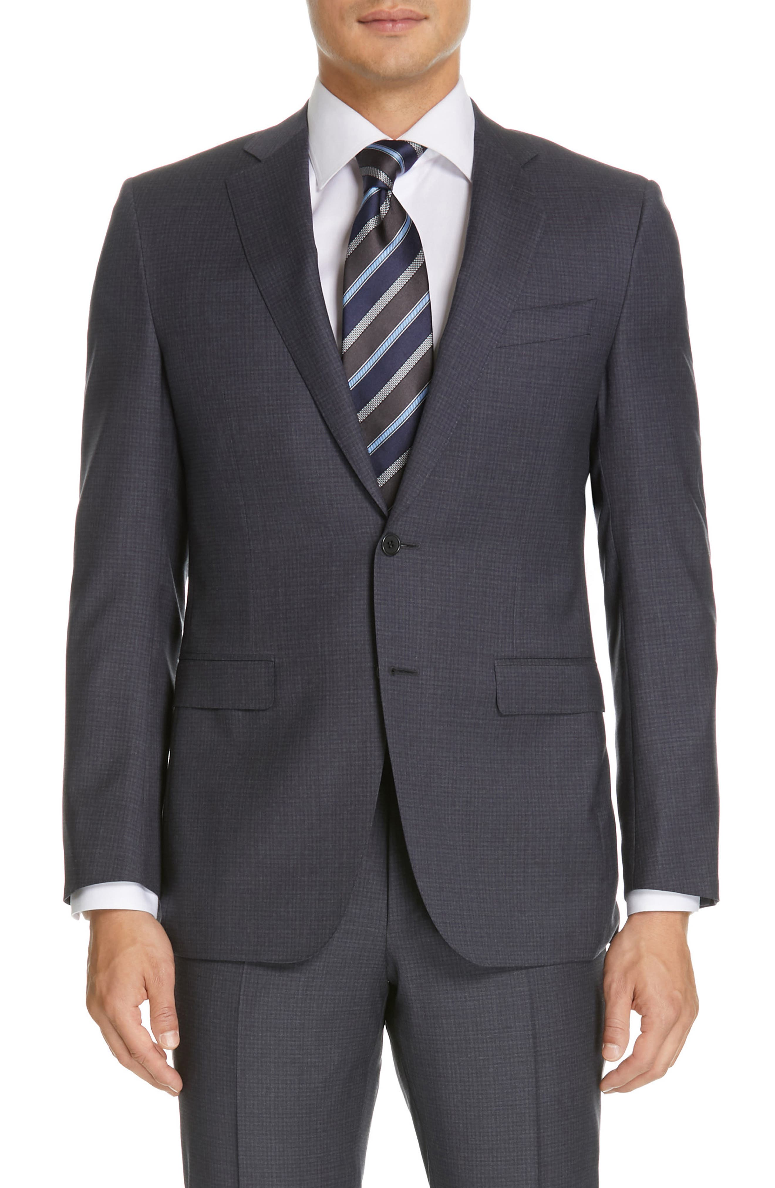 CANALI, Milano Classic Fit Check Wool Suit, Alternate thumbnail 5, color, CHARCOAL