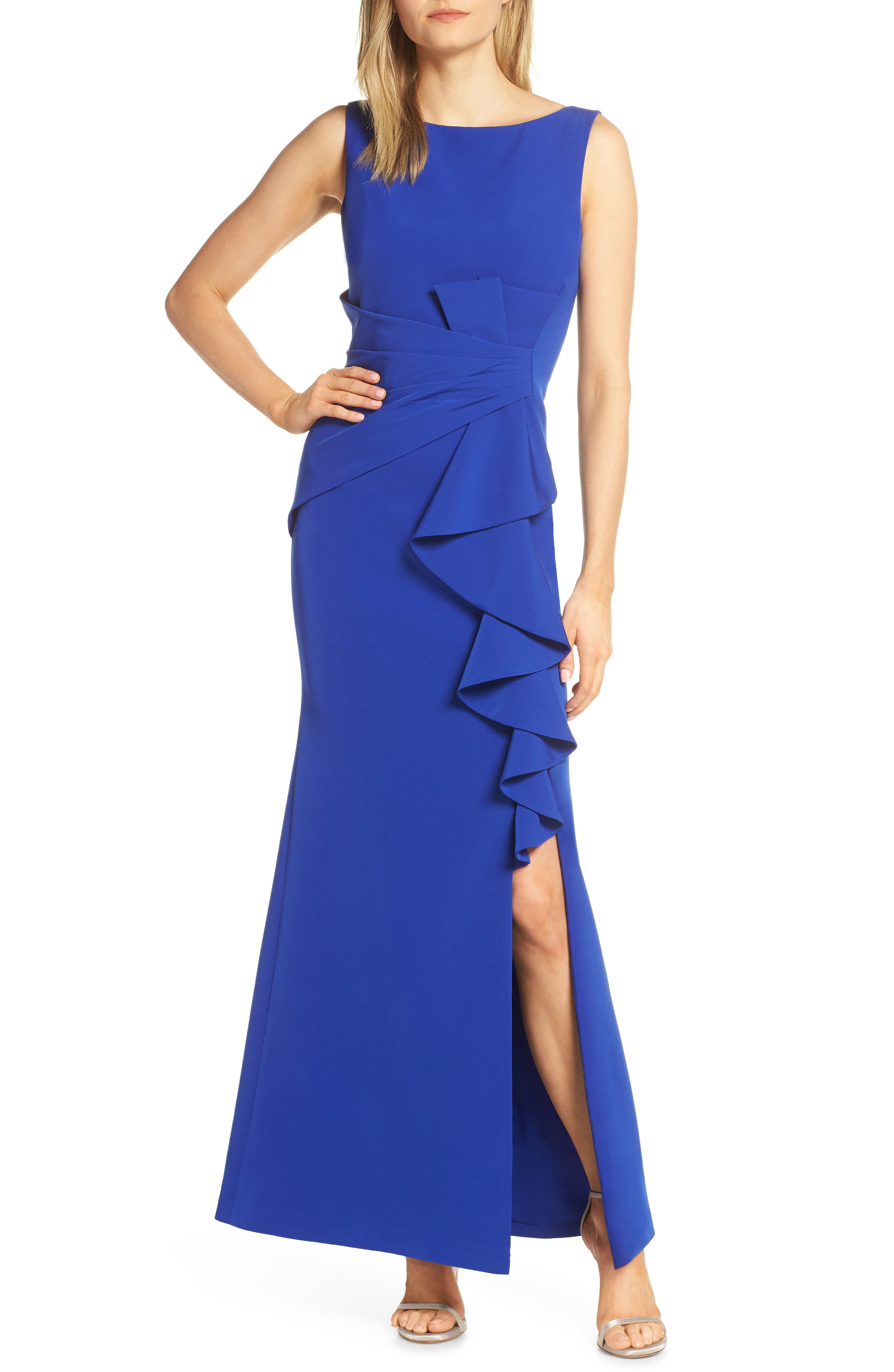Eliza J Ruffle Front Gown, Blue
