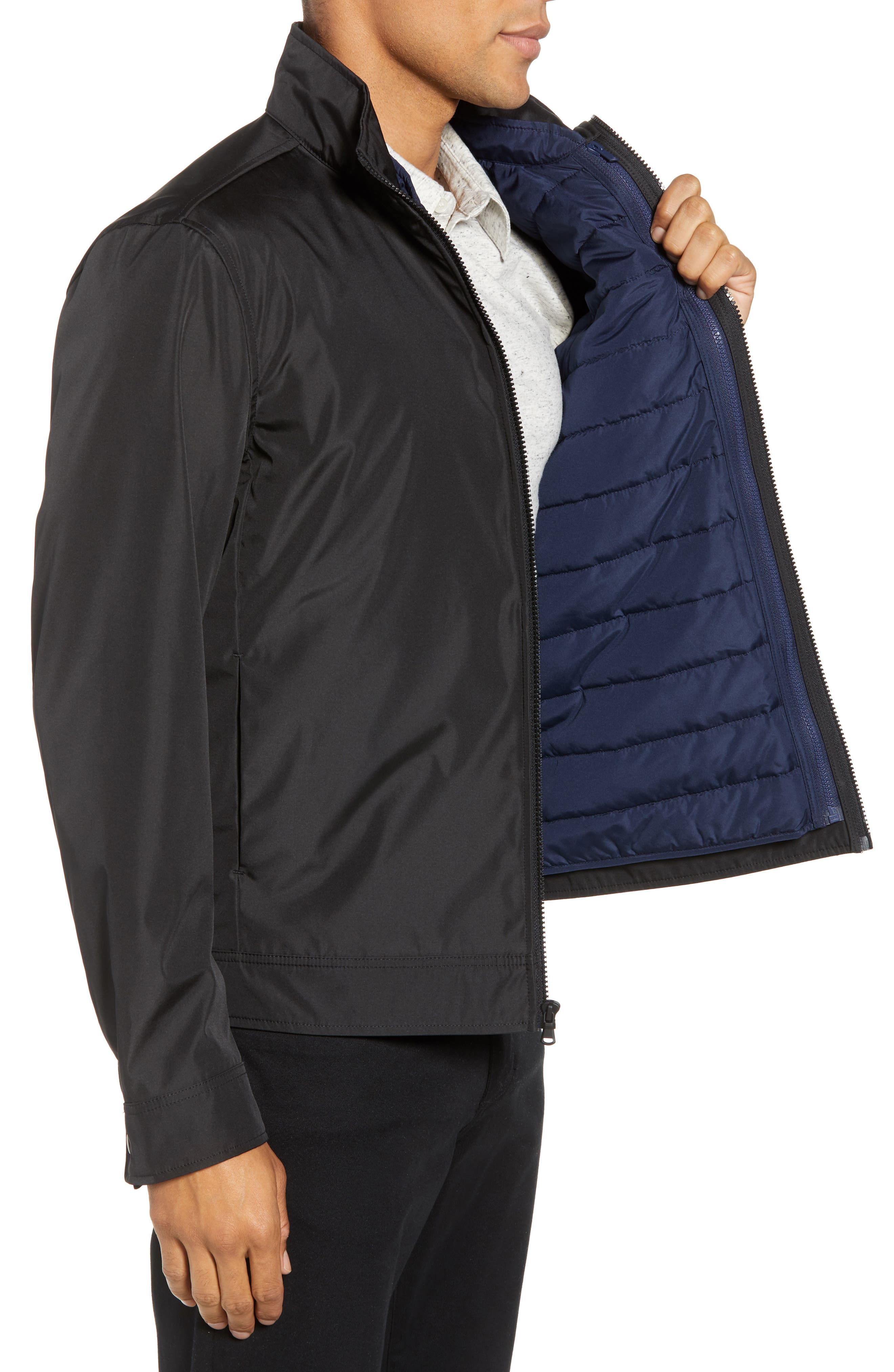 ZACHARY PRELL, Oxford 2-in-1 Jacket, Alternate thumbnail 4, color, BLACK