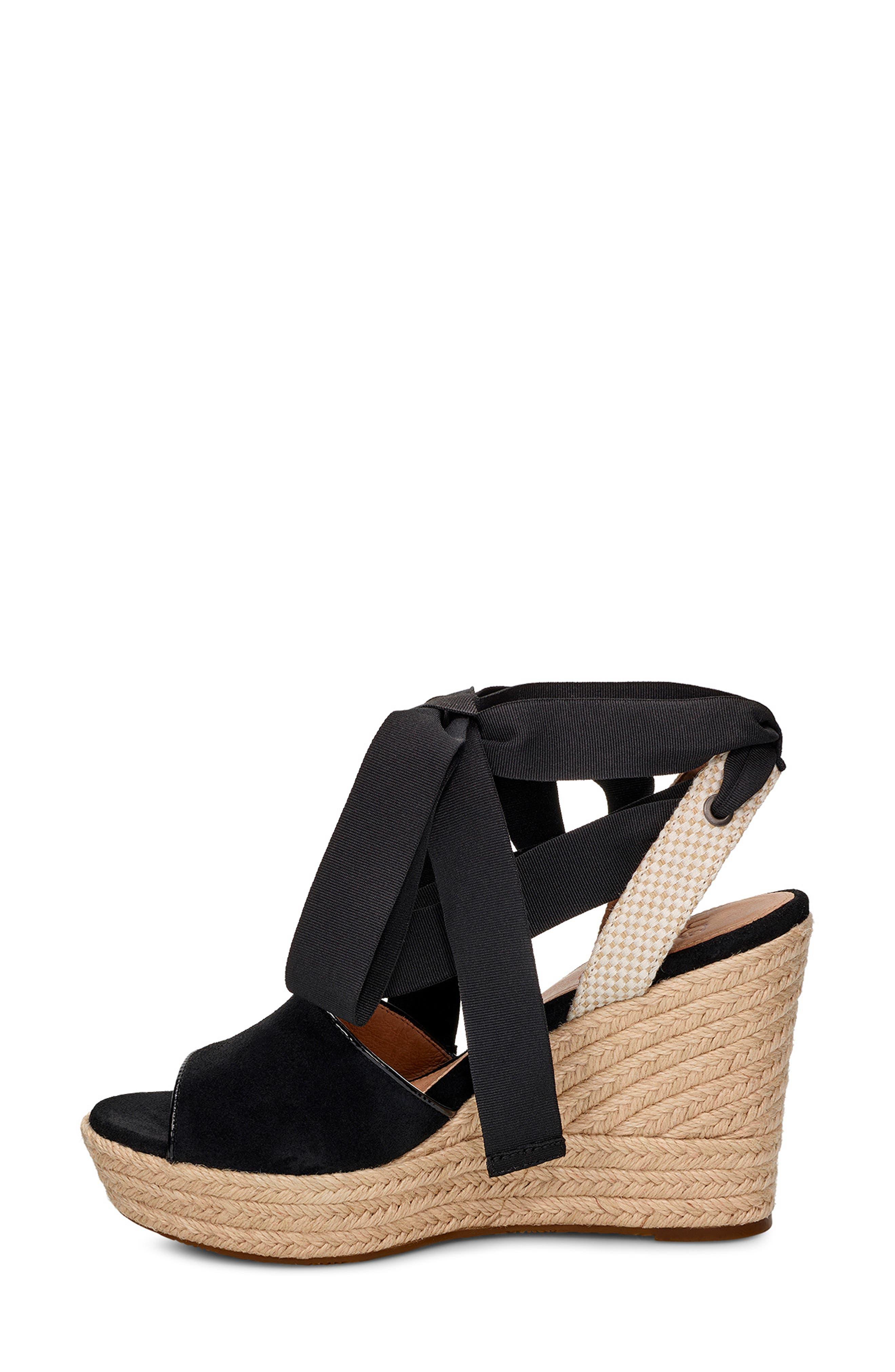 UGG<SUP>®</SUP>, Shiloh Wedge Sandal, Alternate thumbnail 6, color, BLACK FABRIC