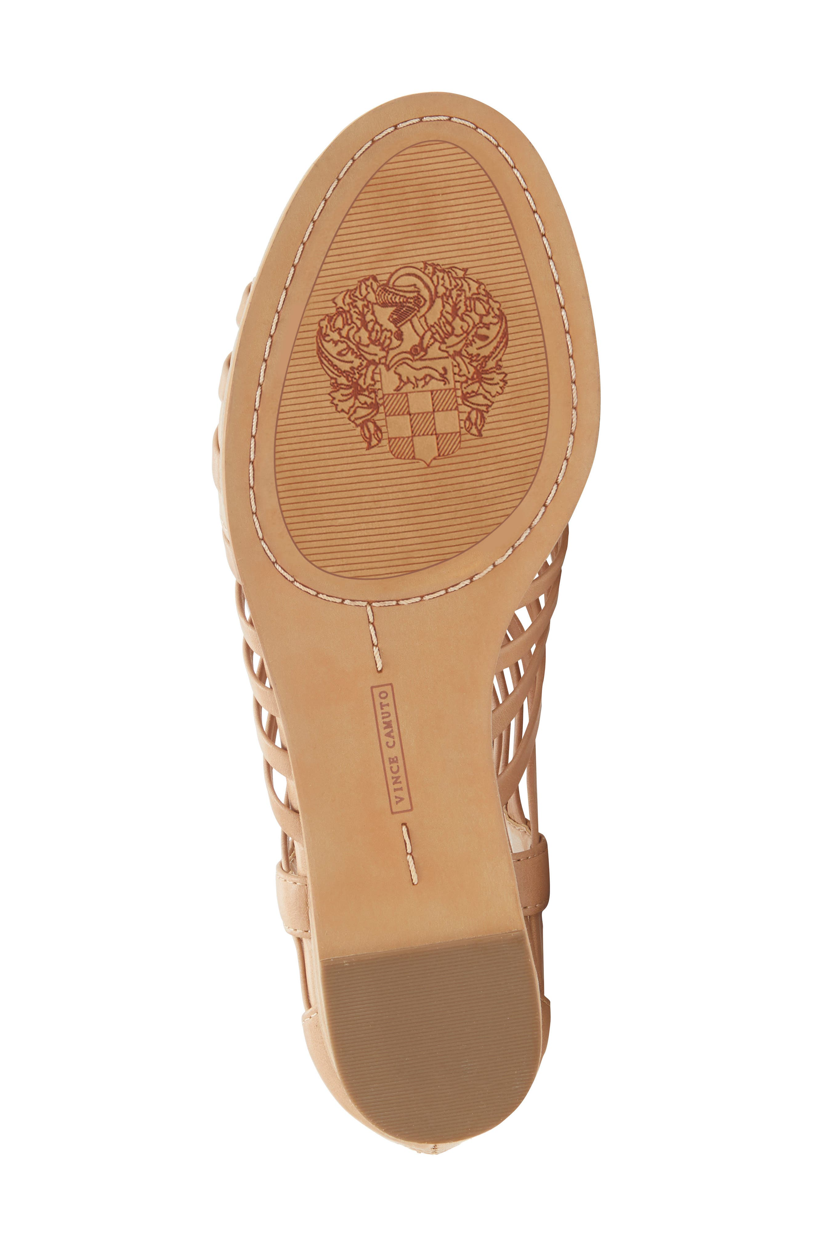 VINCE CAMUTO, Revey Wedge Sandal, Alternate thumbnail 6, color, NATURAL LEATHER